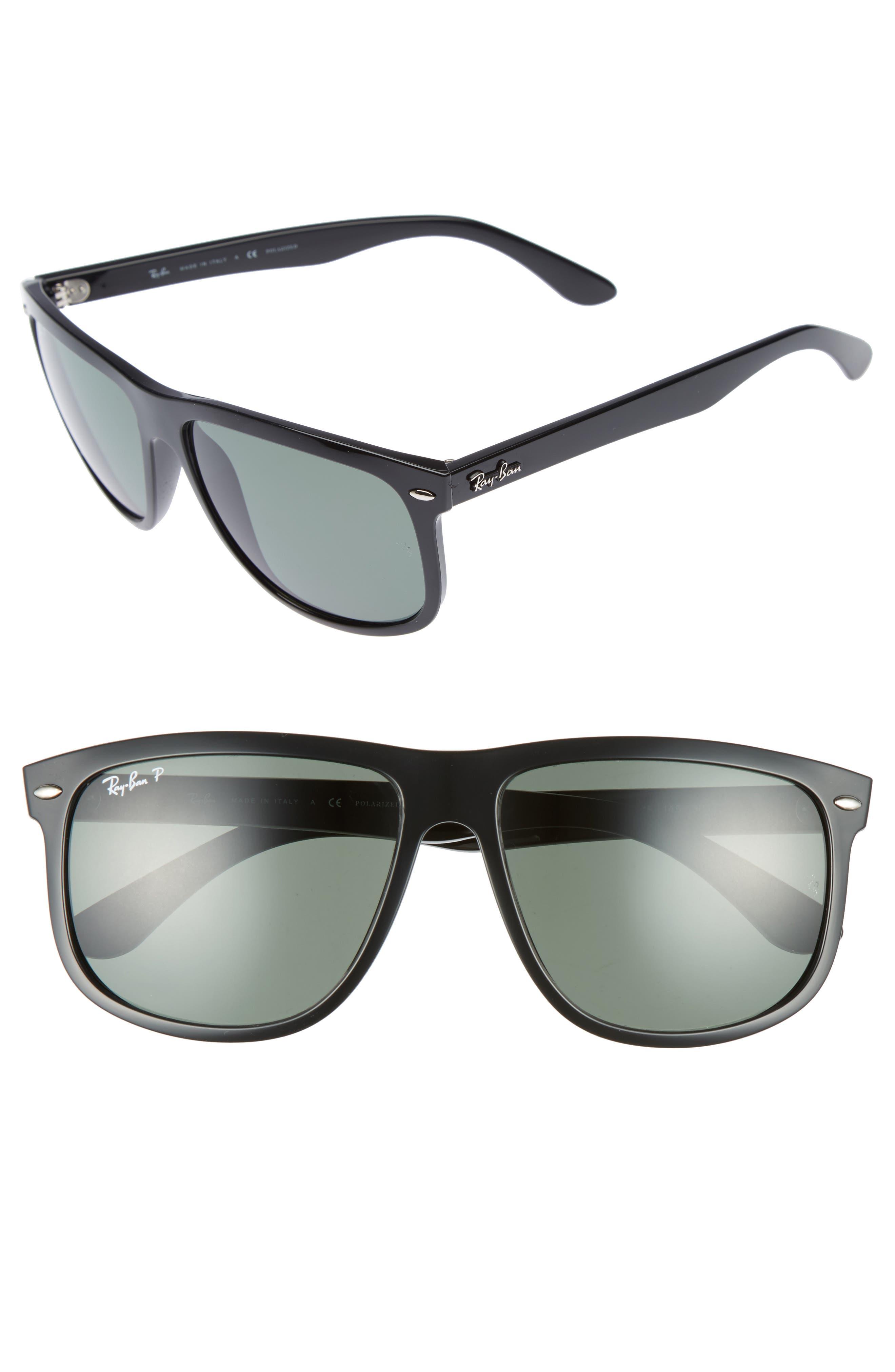 RAY-BAN, Highstreet 60mm Polarized Flat Top Sunglasses, Alternate thumbnail 2, color, BLACK POLARIZED