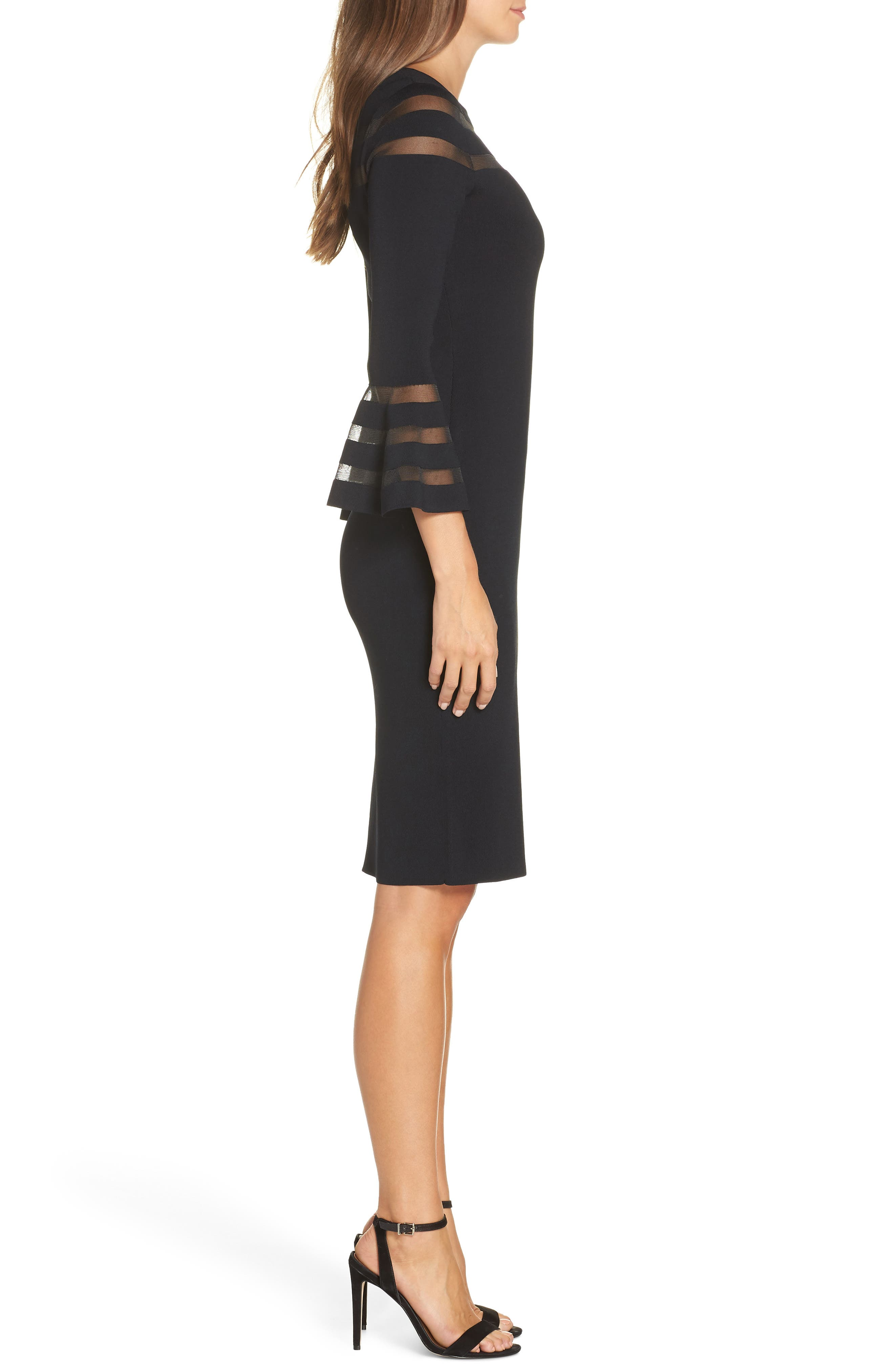 ELIZA J, Mesh Stripe Sweater Dress, Alternate thumbnail 4, color, BLACK
