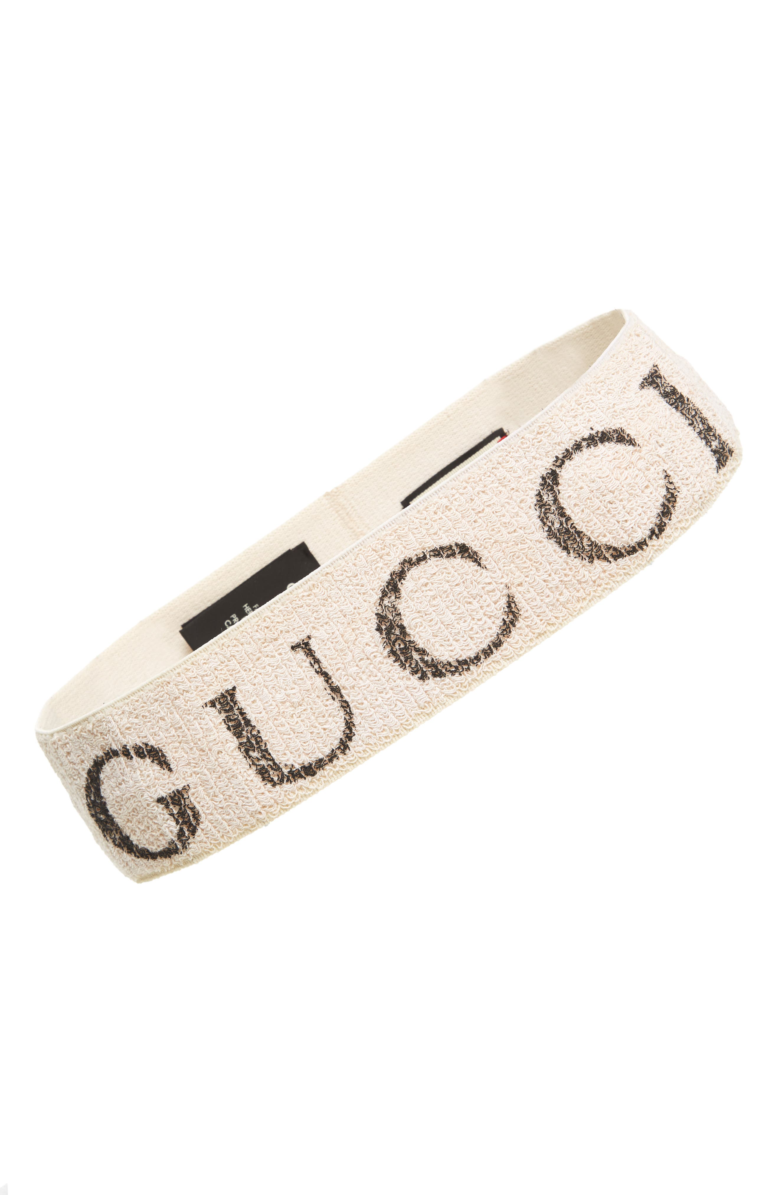 GUCCI Teban Logo Headband, Main, color, WHITE