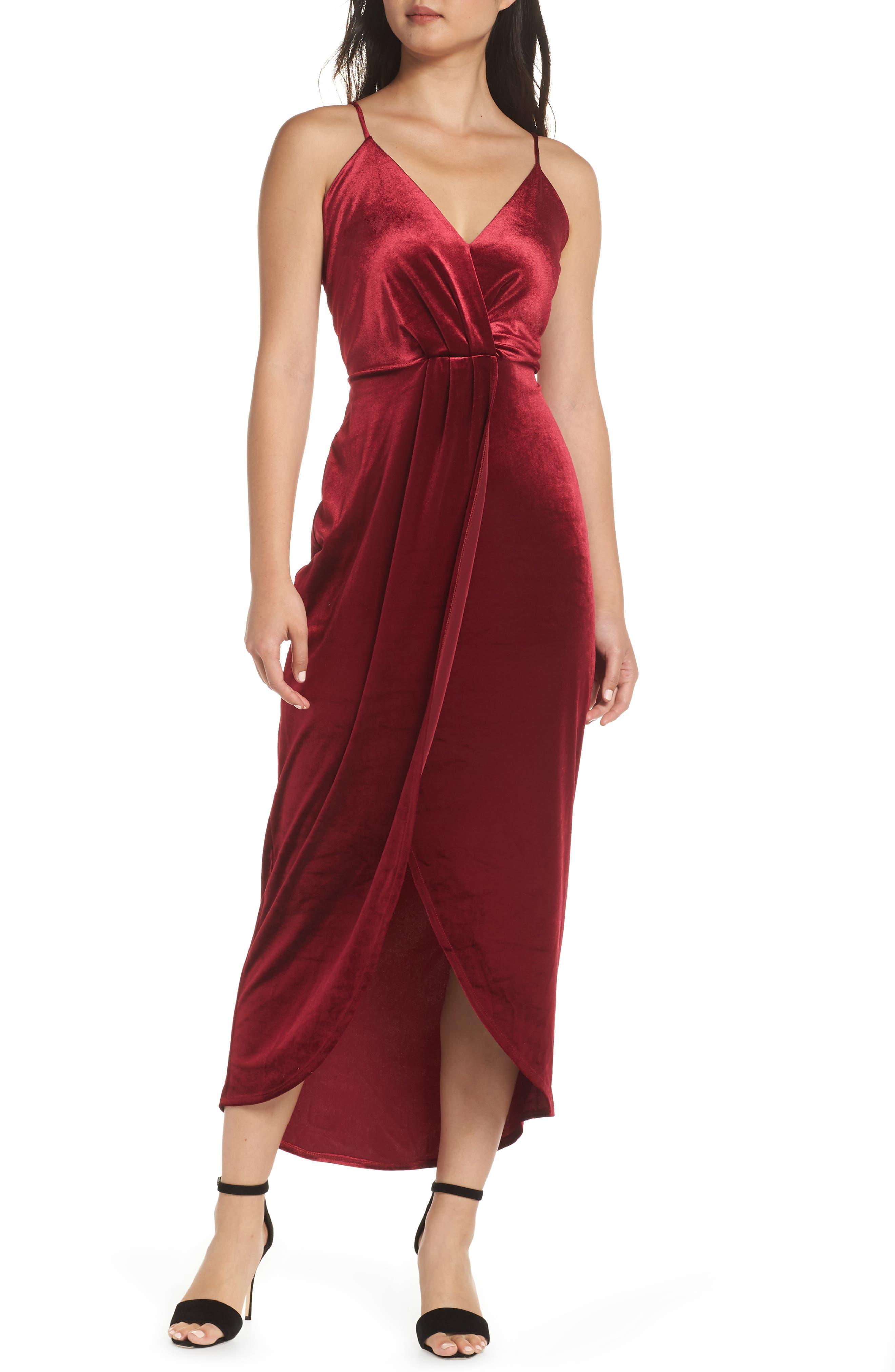 Fraiche By J Velvet Maxi Dress, Burgundy