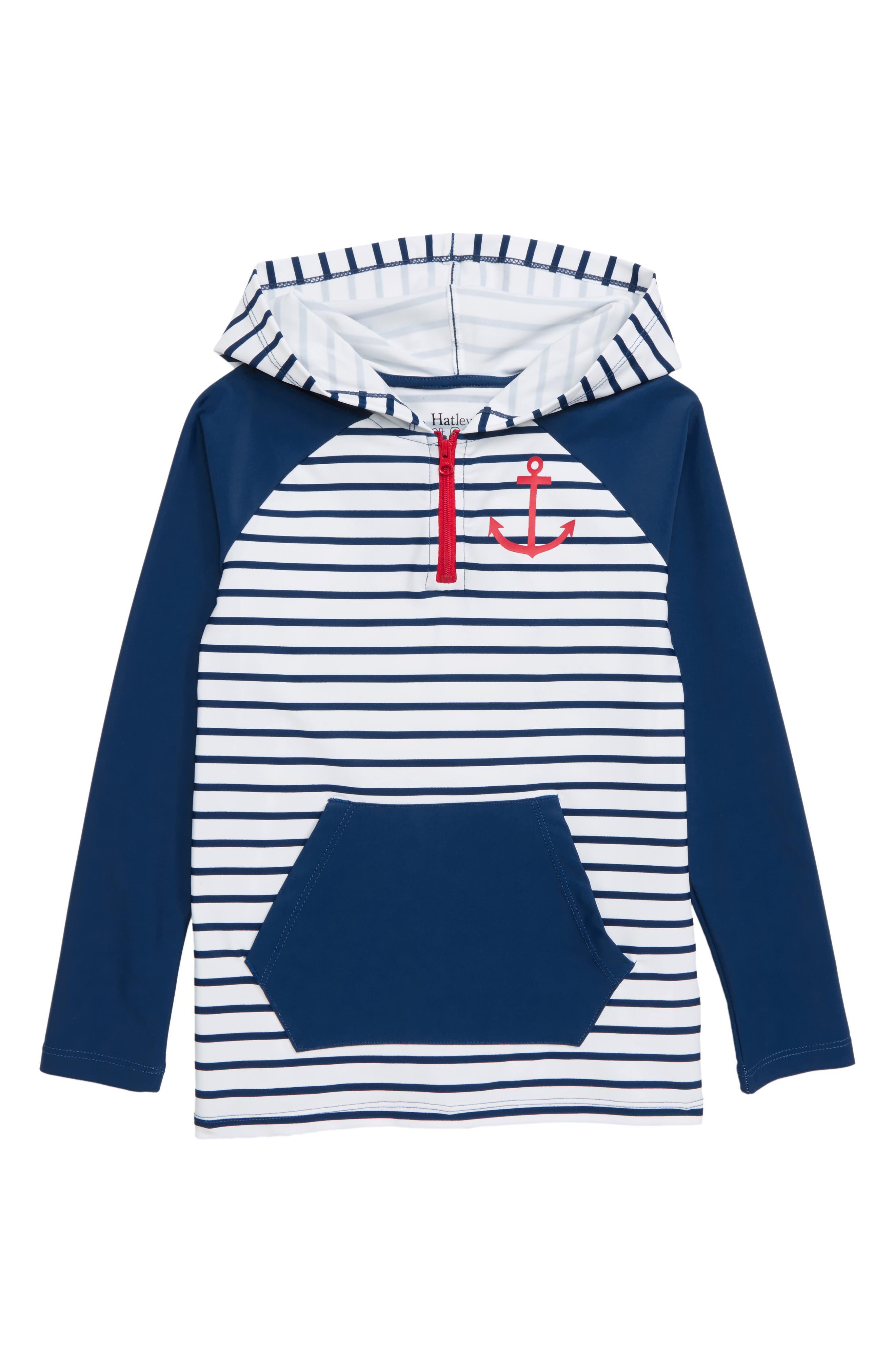 HATLEY Stripe Hooded Rashguard, Main, color, WHITE