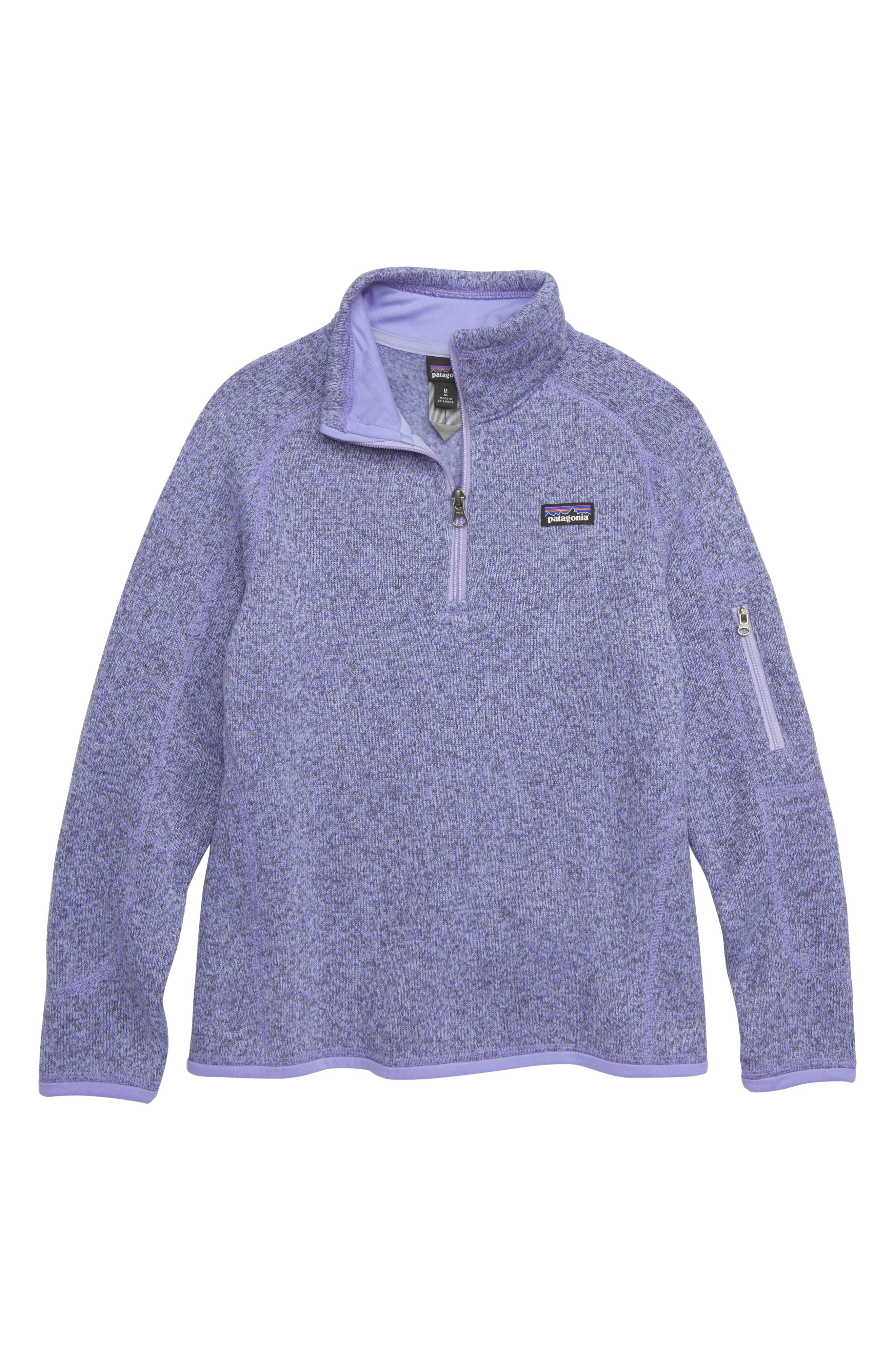 PATAGONIA, Better Sweater Quarter Zip Pullover, Main thumbnail 1, color, LVBL LIGHT VIOLET BLUE