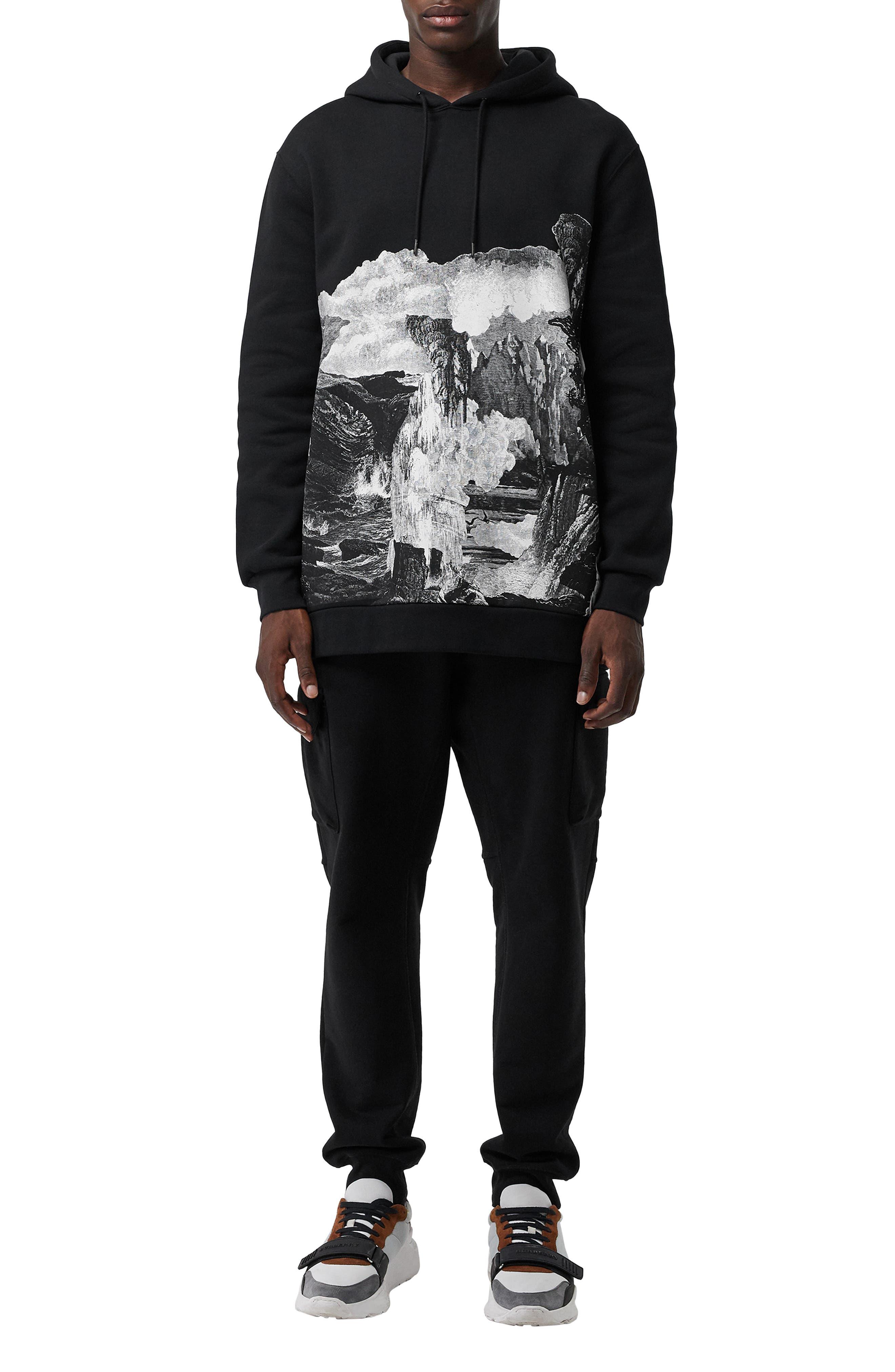 BURBERRY, Dreamscape Print Hooded Sweatshirt, Alternate thumbnail 6, color, BLACK