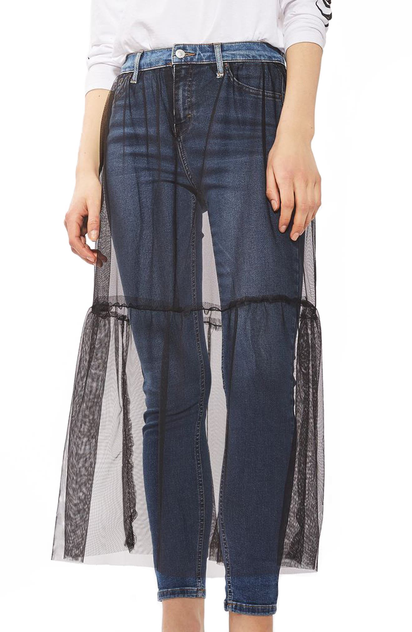 TOPSHOP, Jamie Tulle Overlay Skinny Jeans, Main thumbnail 1, color, 400