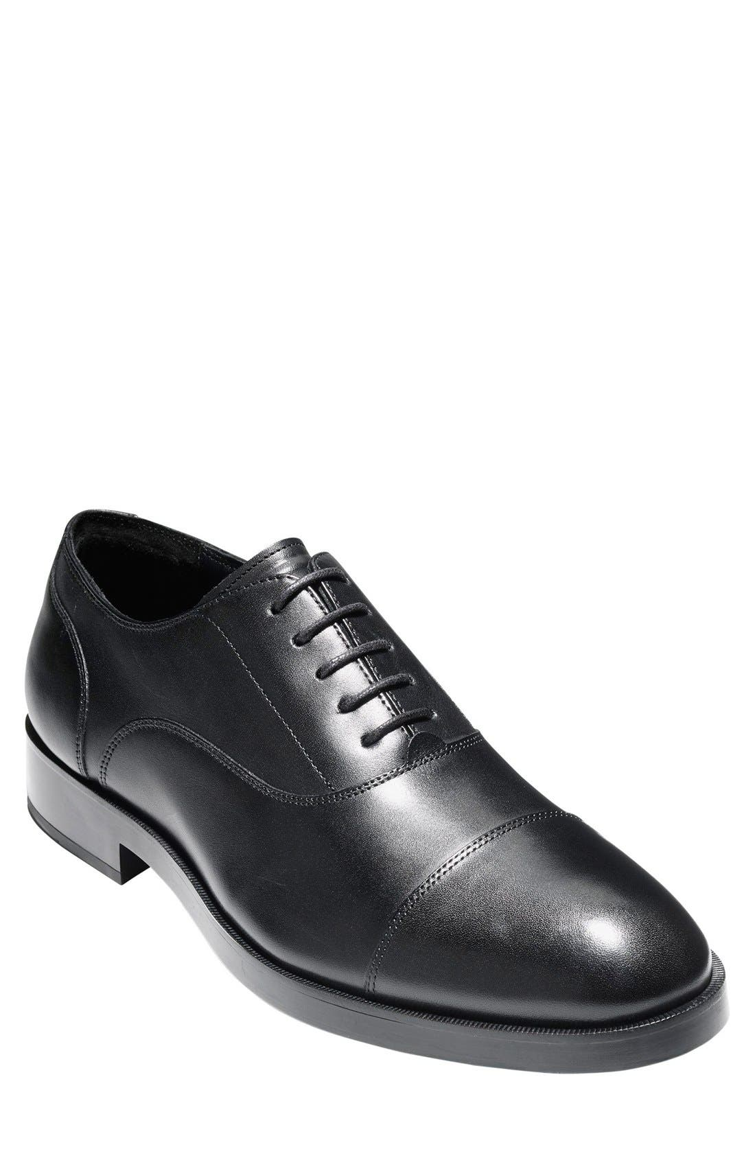COLE HAAN, Harrison Grand Cap Toe Oxford, Alternate thumbnail 10, color, BLACK/ BLACK LEATHER