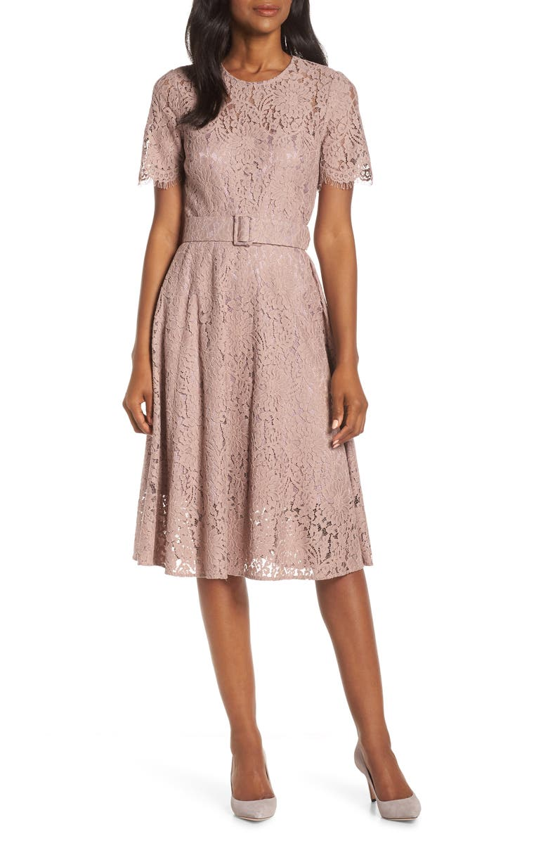 petite Belted Fit & Flare Lace Dress