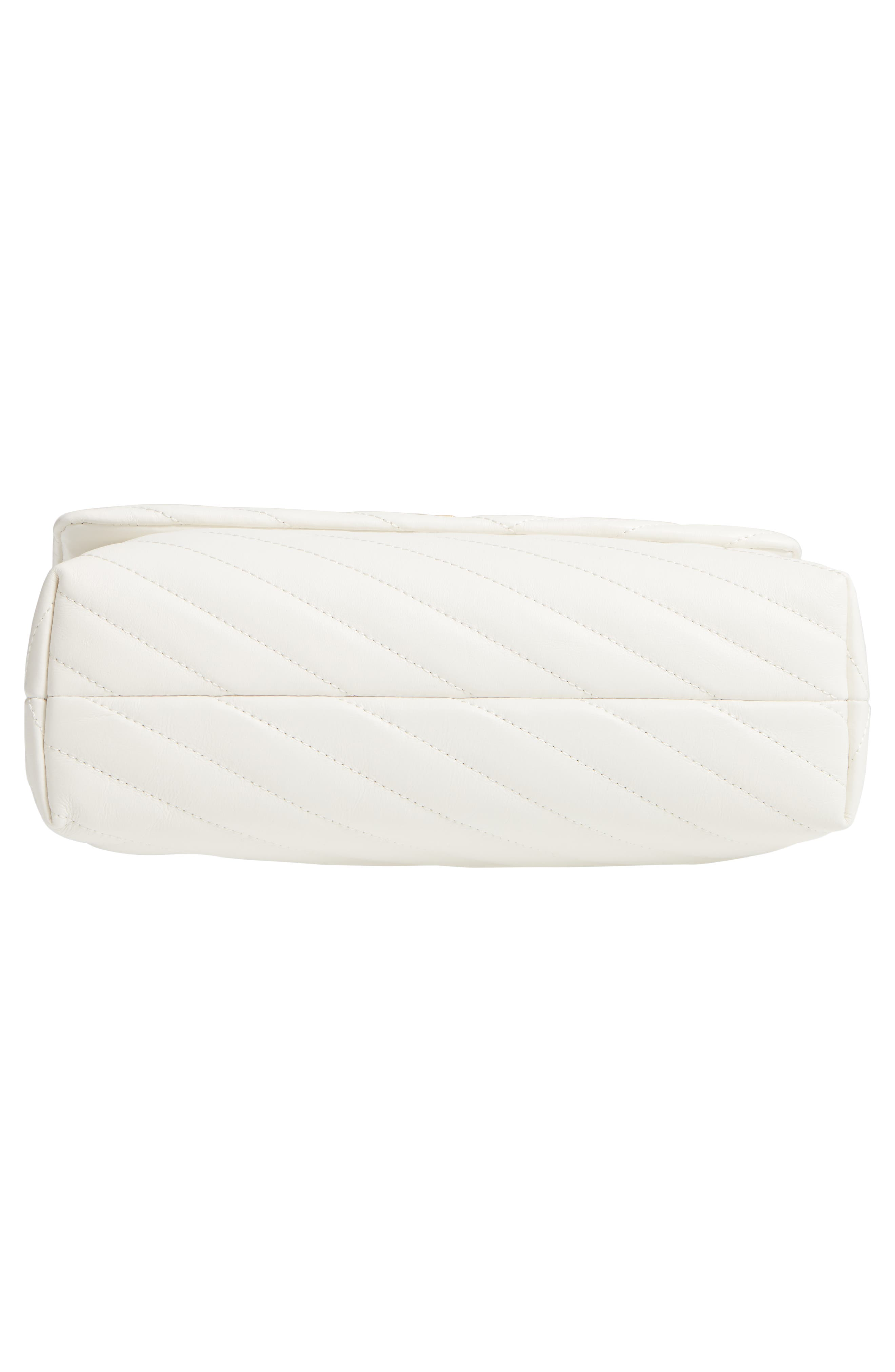 TORY BURCH, Kira Chevron Quilted Leather Shoulder Bag, Alternate thumbnail 7, color, NEW IVORY