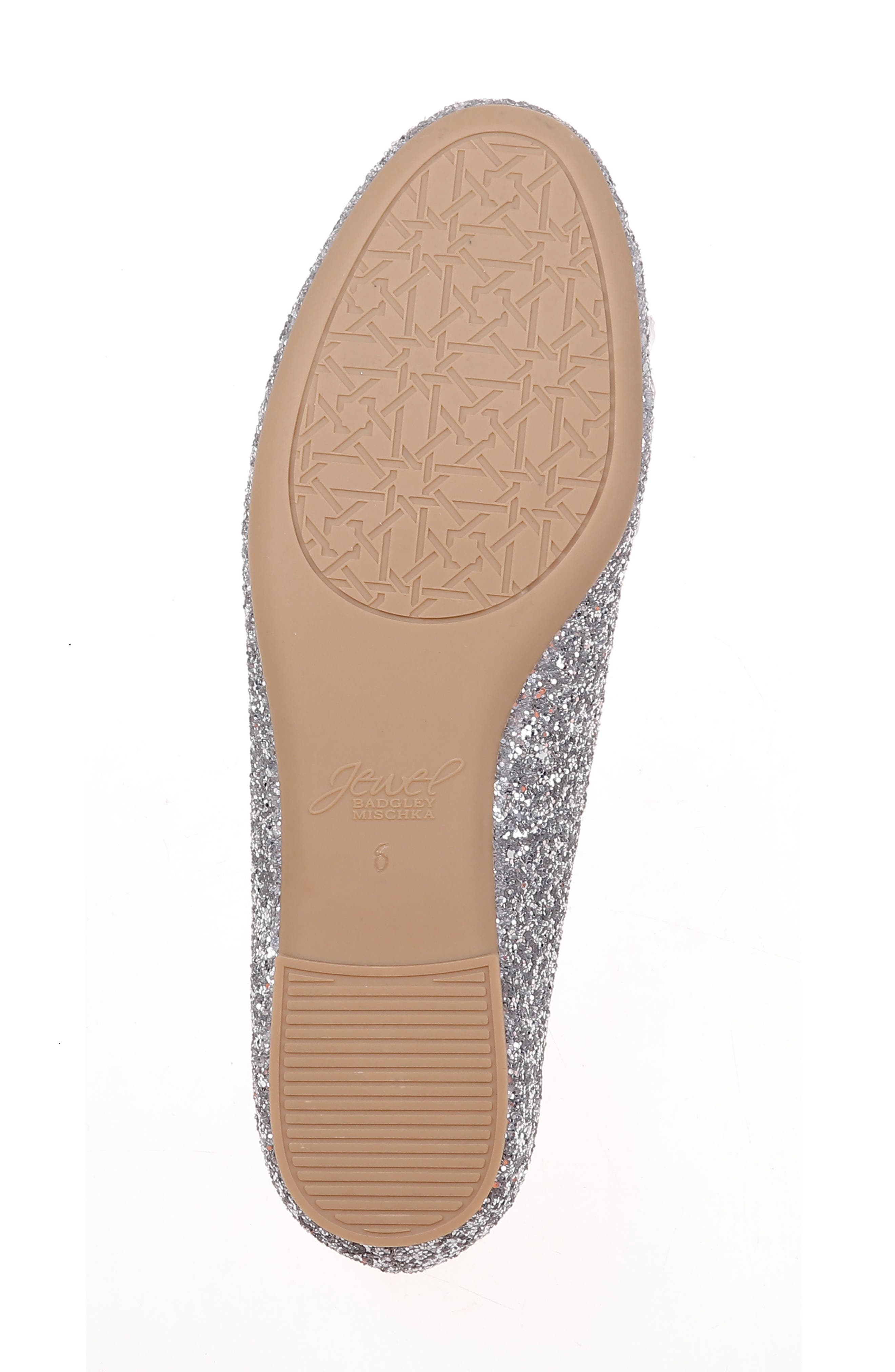 JEWEL BADGLEY MISCHKA, Mathilda Embellished Ballet Flat, Alternate thumbnail 6, color, SILVER GLITTER