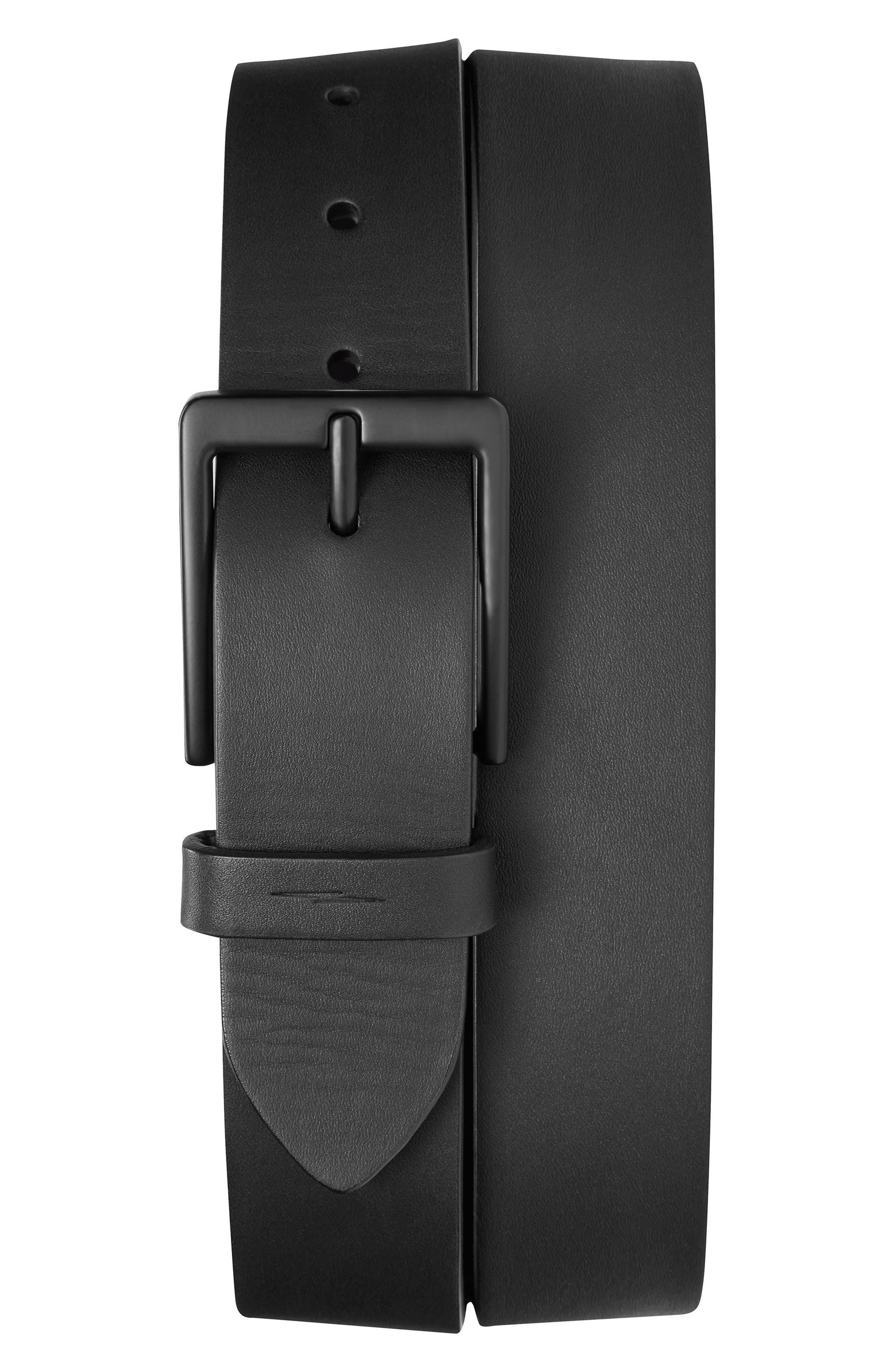 SHINOLA, Lightning Bolt Keeper Leather Belt, Main thumbnail 1, color, BLACK