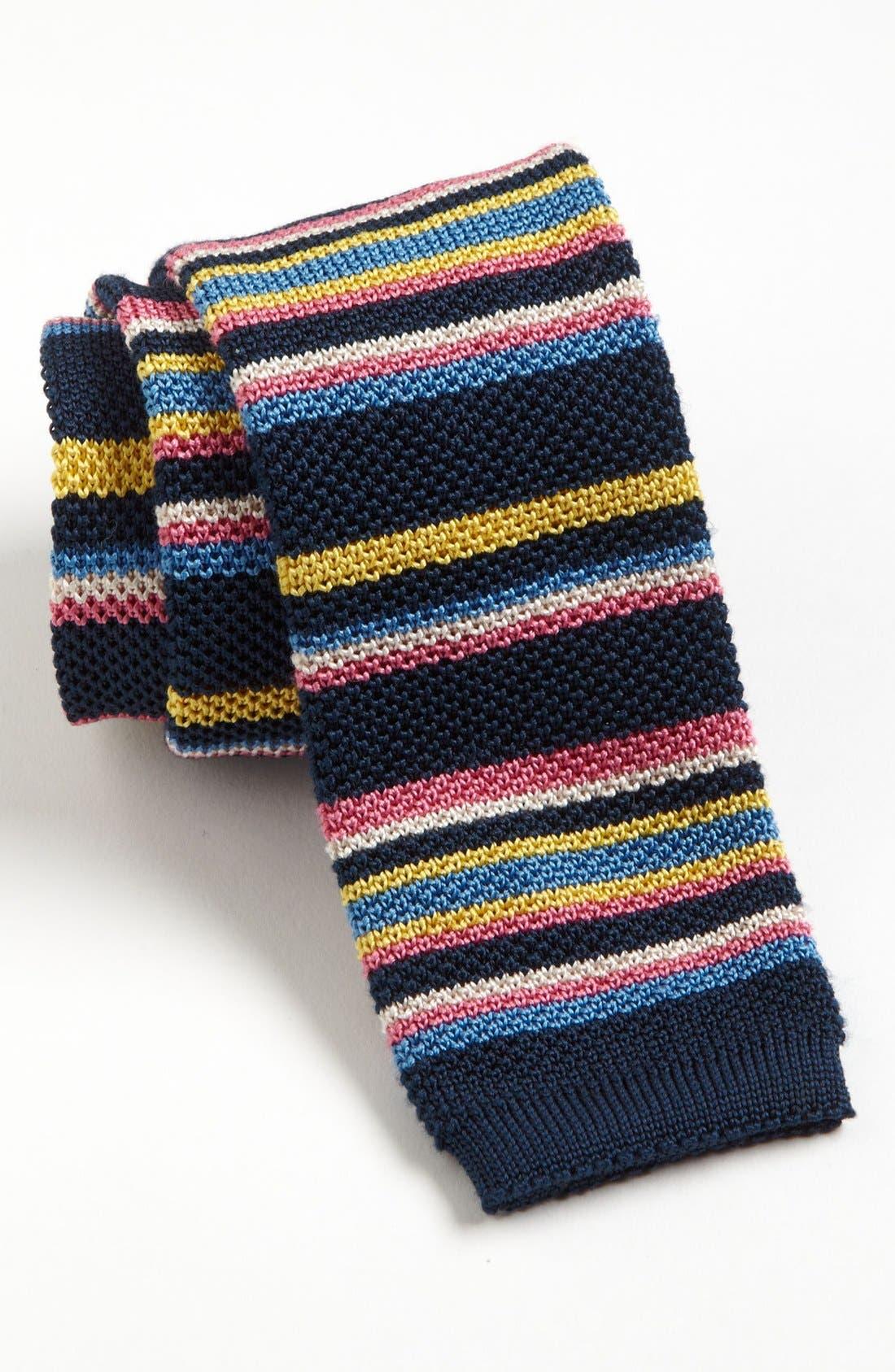 ETON, Stripe Knit Tie, Main thumbnail 1, color, 401