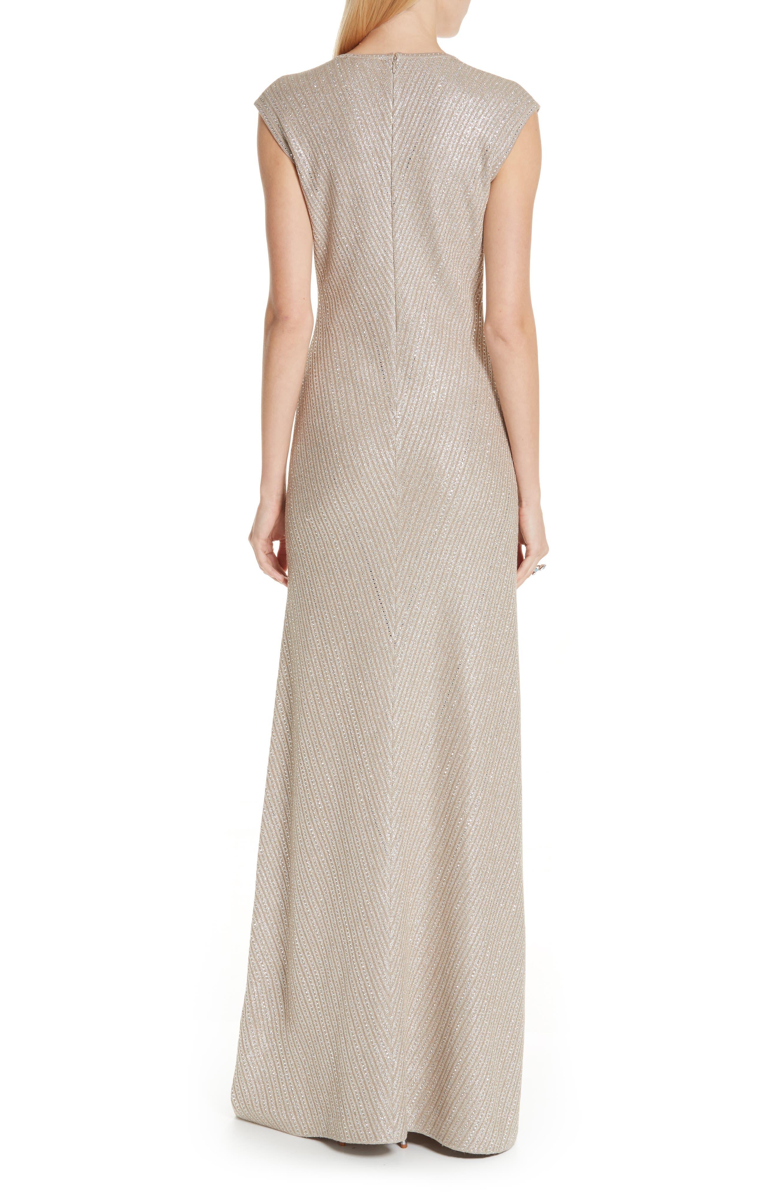 ST. JOHN COLLECTION, Brielle Knit V-Neck Gown, Alternate thumbnail 2, color, DARK KHAKI/ GOLD