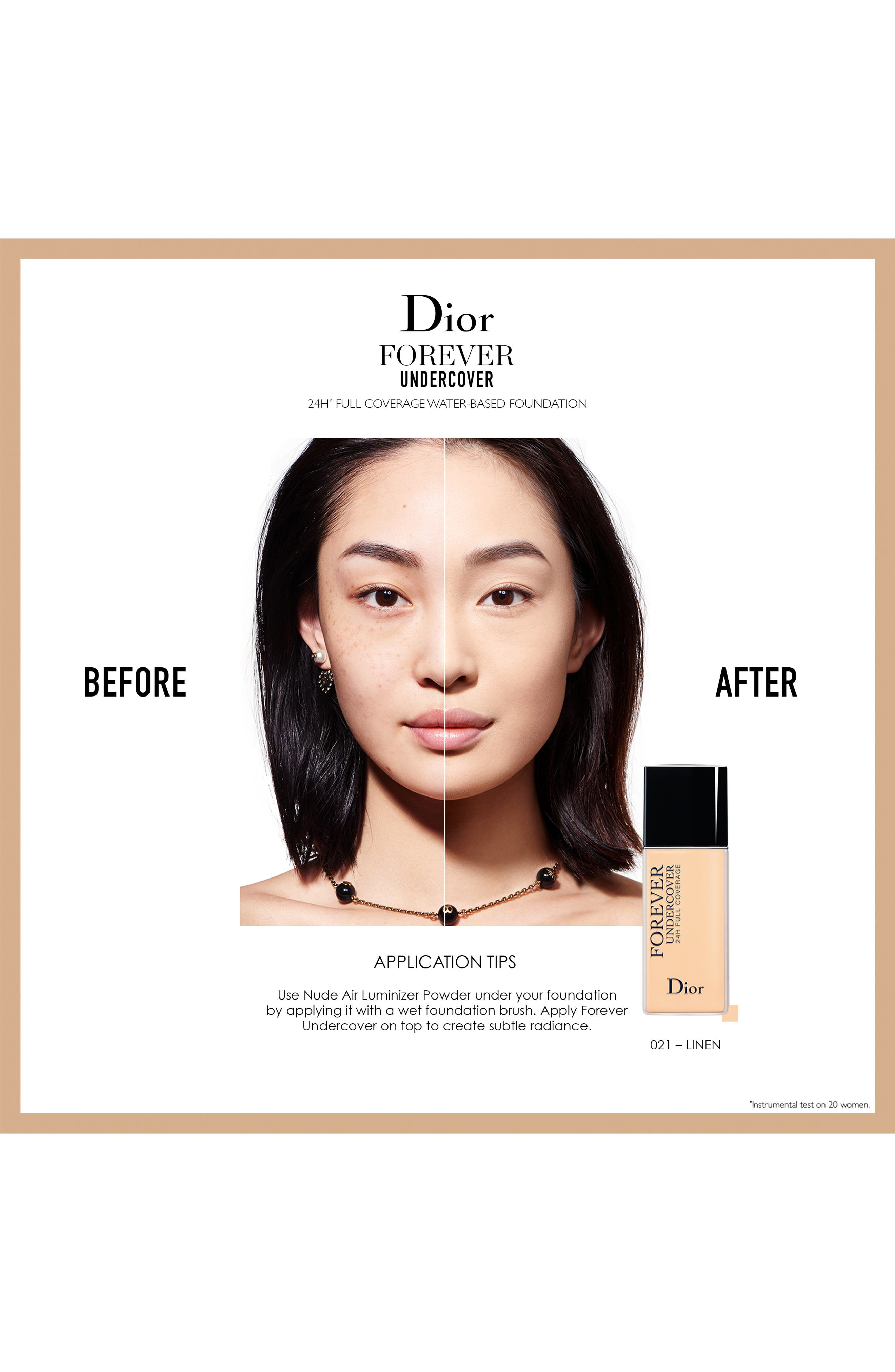 DIOR, Diorskin Forever Undercover 24-Hour Full Coverage Water-Based Foundation, Alternate thumbnail 3, color, 051 PRALINE