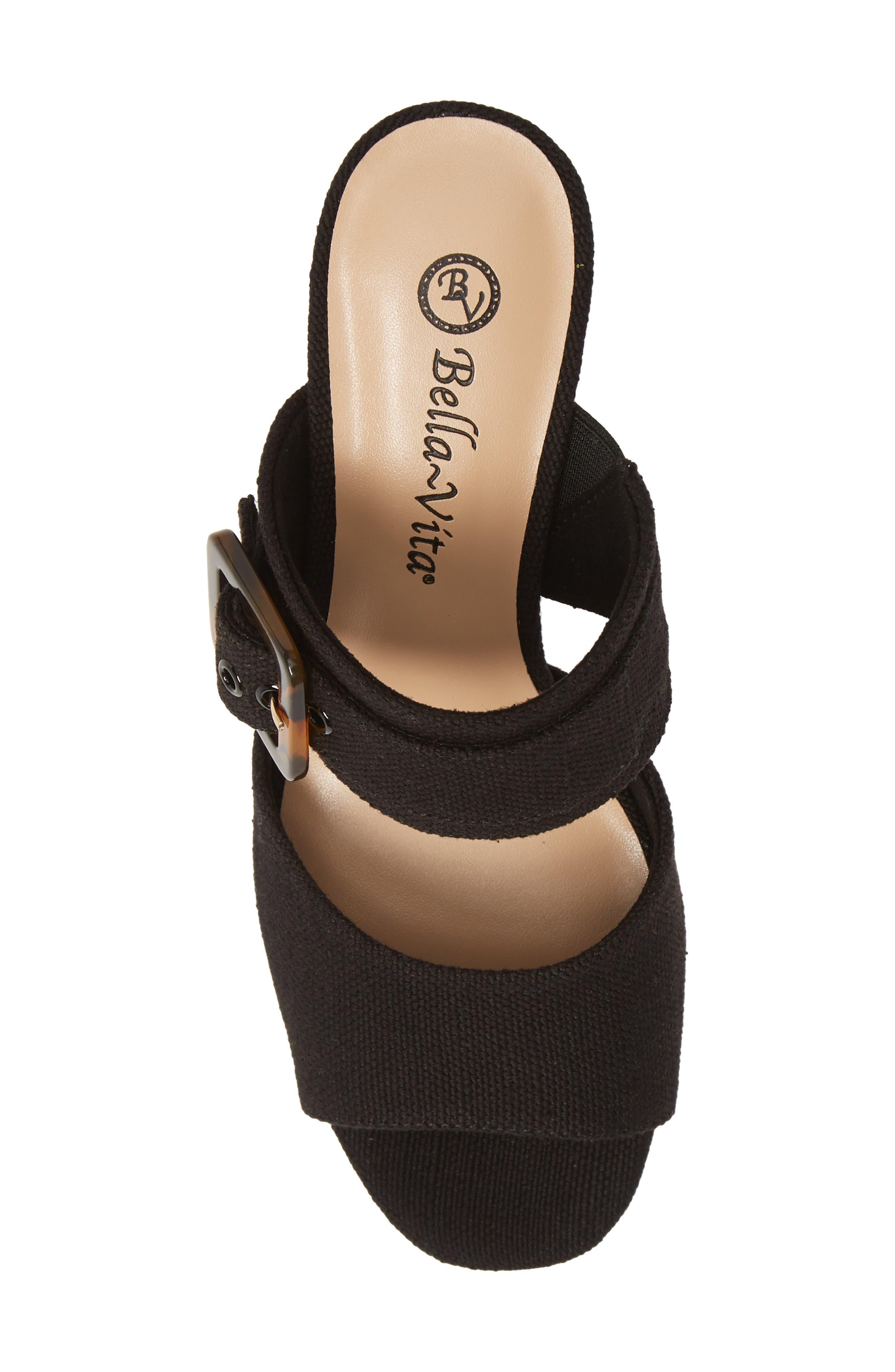 BELLA VITA, Tory II Buckle Slide Sandal, Alternate thumbnail 5, color, BLACK LINEN FABRIC