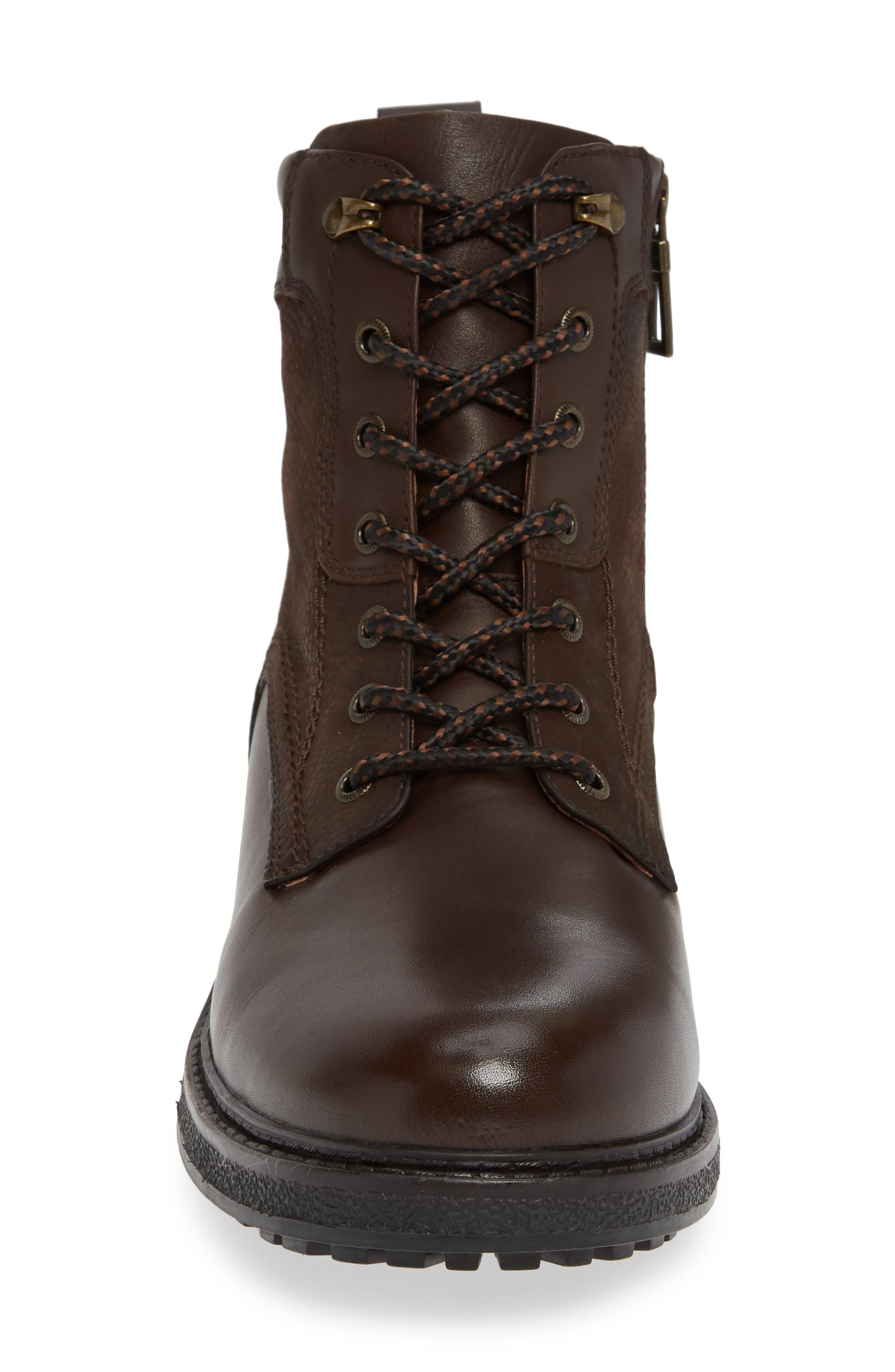 BLONDO, Jasper Waterproof Plain Toe Boot, Alternate thumbnail 4, color, BROWN LEATHER