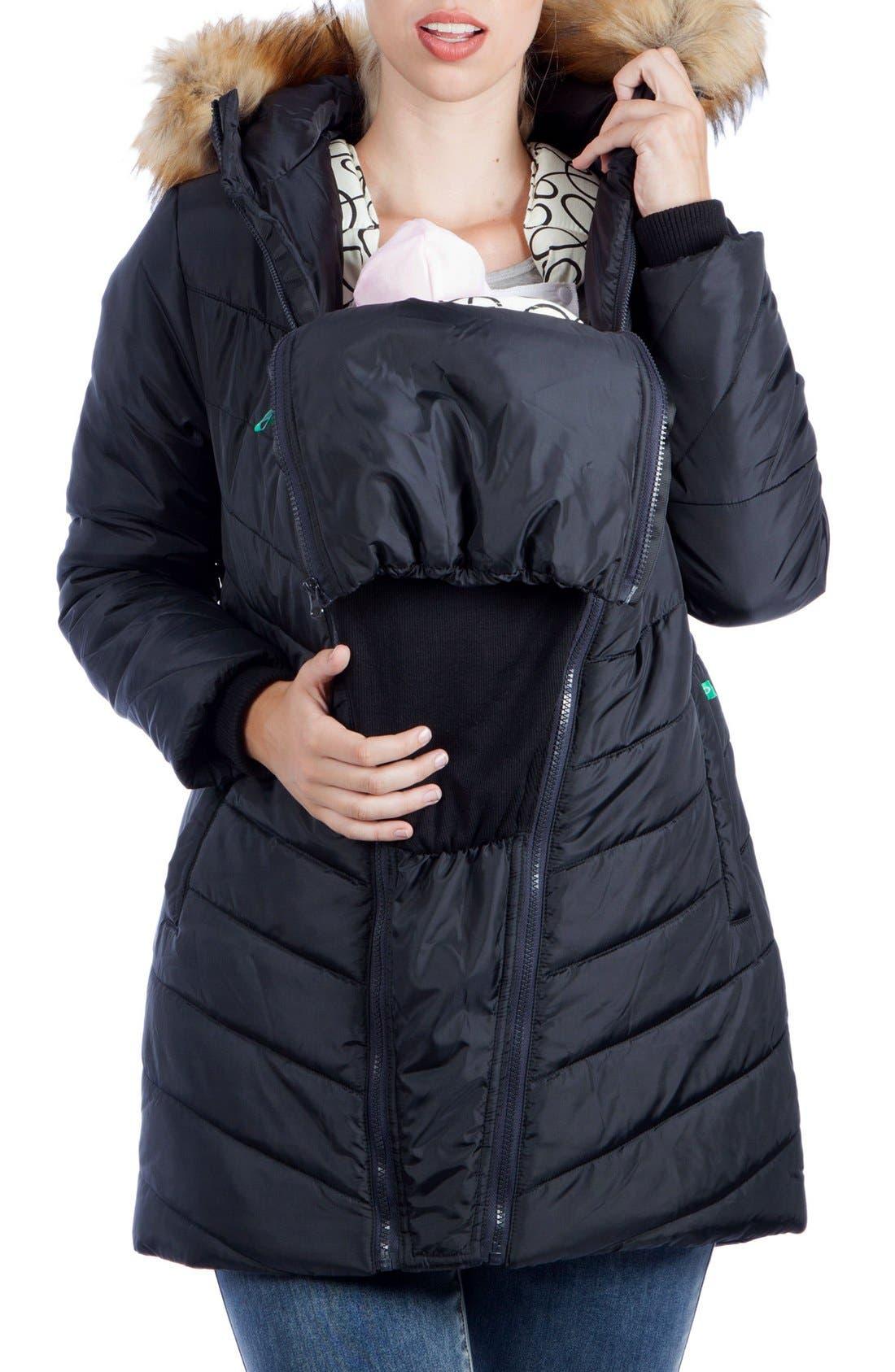 MODERN ETERNITY, Faux Fur Trim Convertible Puffer 3-in-1 Maternity Jacket, Alternate thumbnail 9, color, BLACK