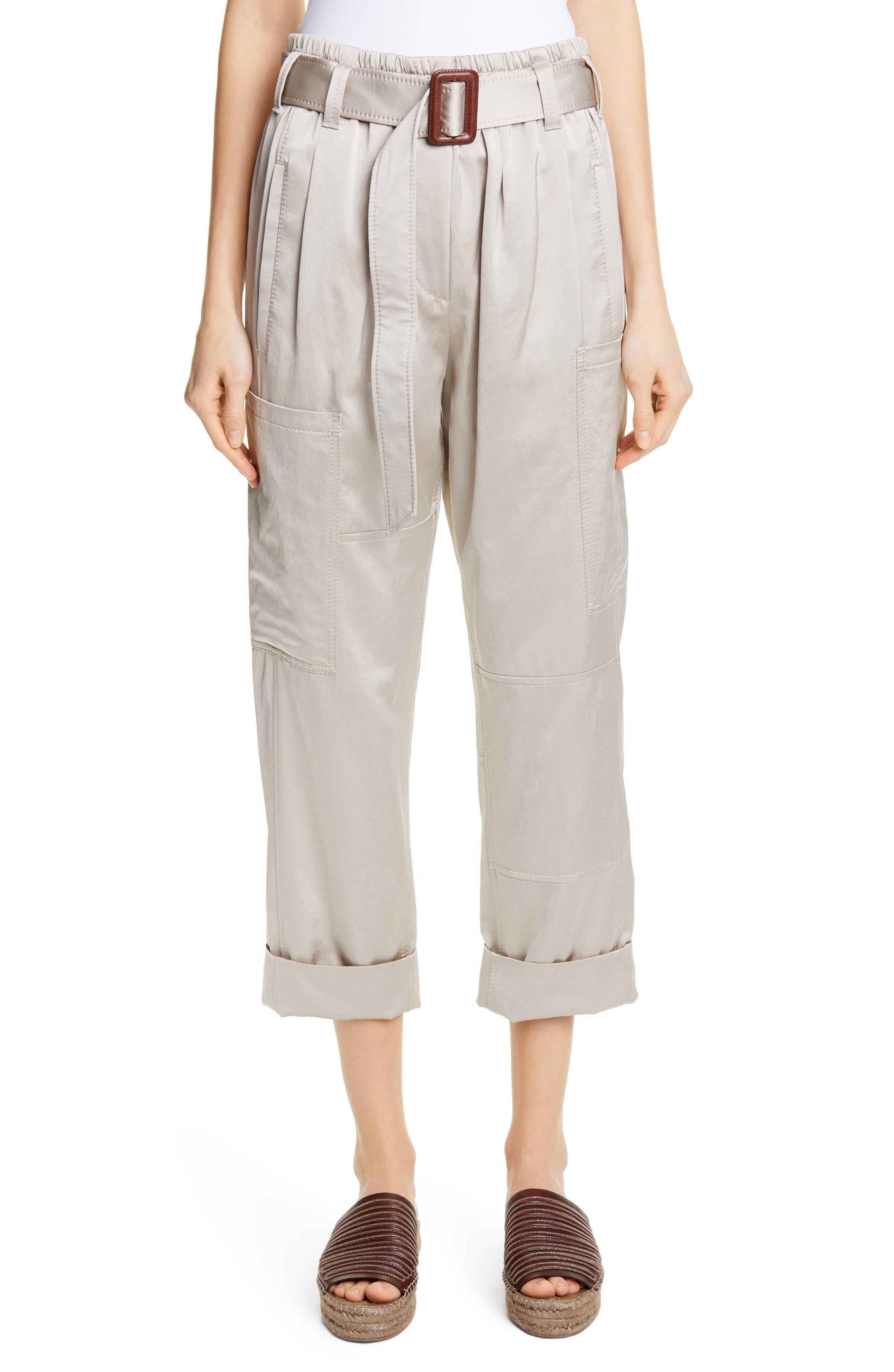 Brunello Cucinelli Belted Satin Cargo Pants, US / 48 IT - Beige