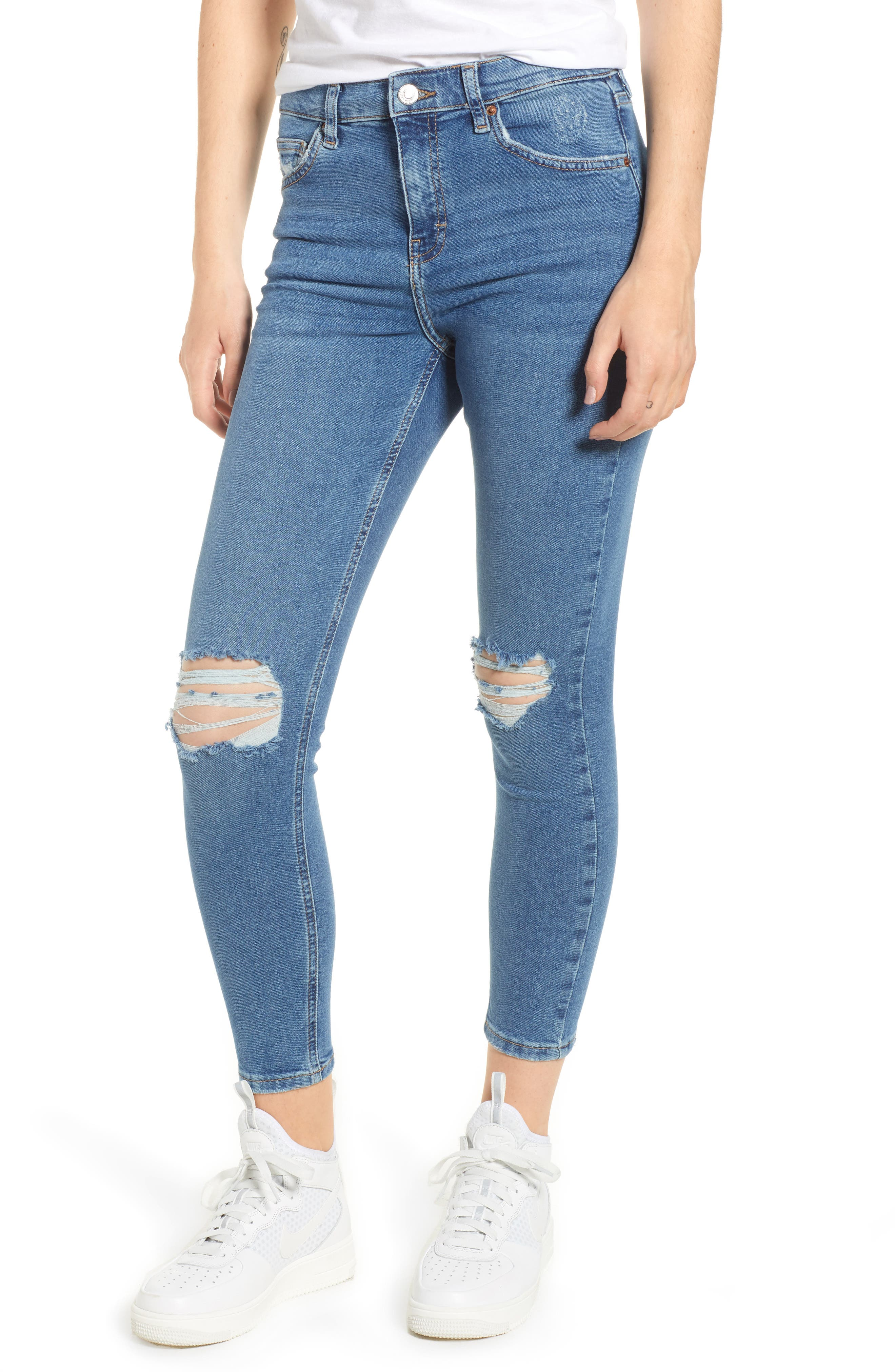 TOPSHOP, Jamie Ripped Jeans, Main thumbnail 1, color, MID DENIM