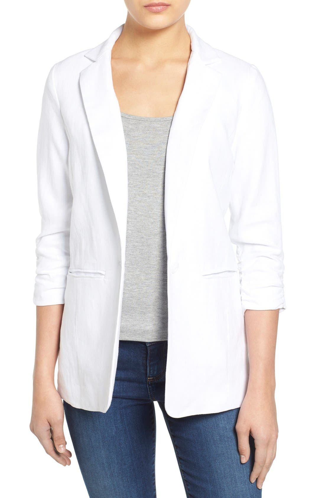 MICHAEL MICHAEL KORS, Linen Shirred Sleeve Boyfriend Jacket, Main thumbnail 1, color, 100