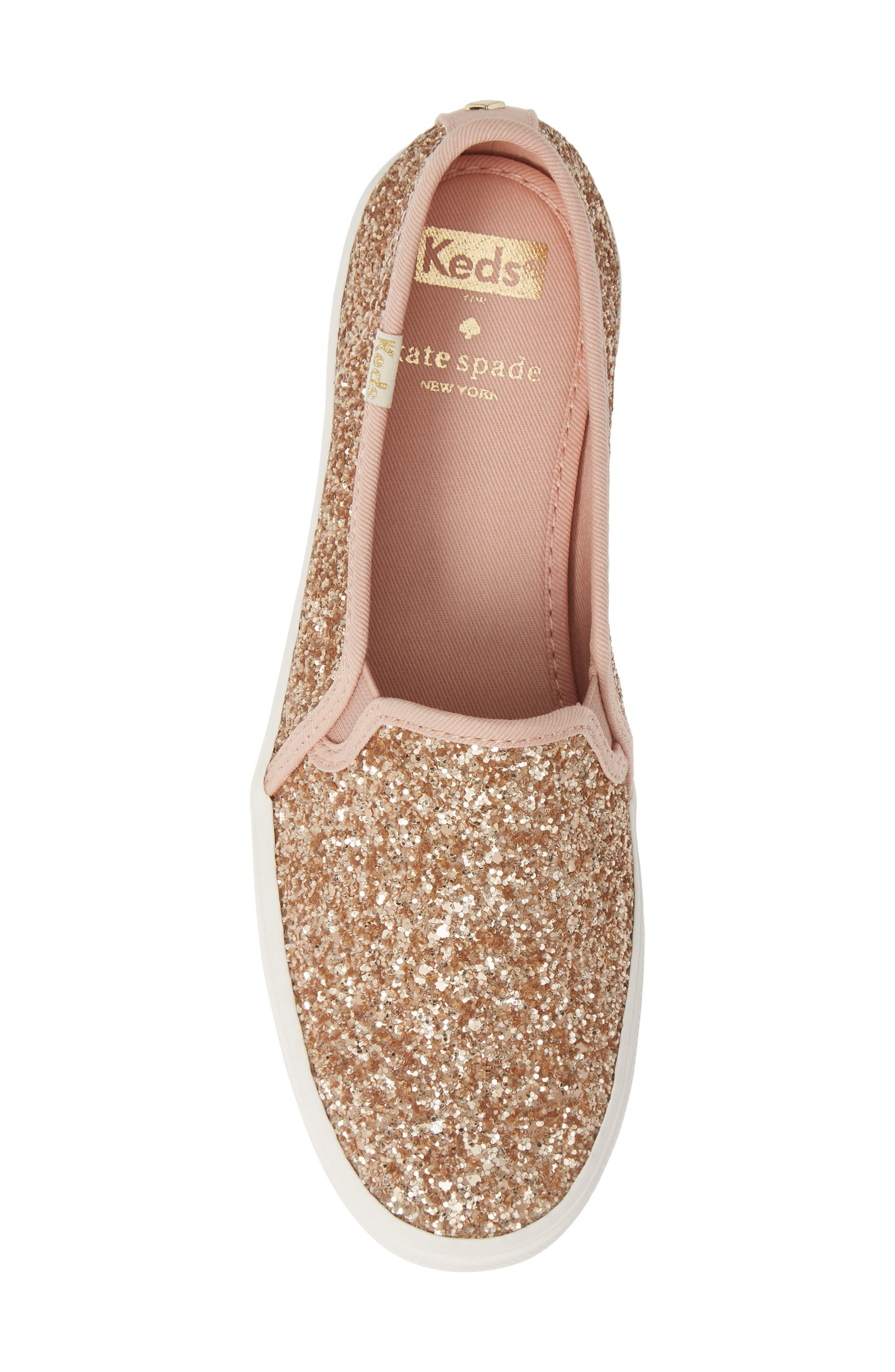 KEDS<SUP>®</SUP> FOR KATE SPADE NEW YORK, triple decker glitter slip-on sneaker, Alternate thumbnail 5, color, ROSE GOLD
