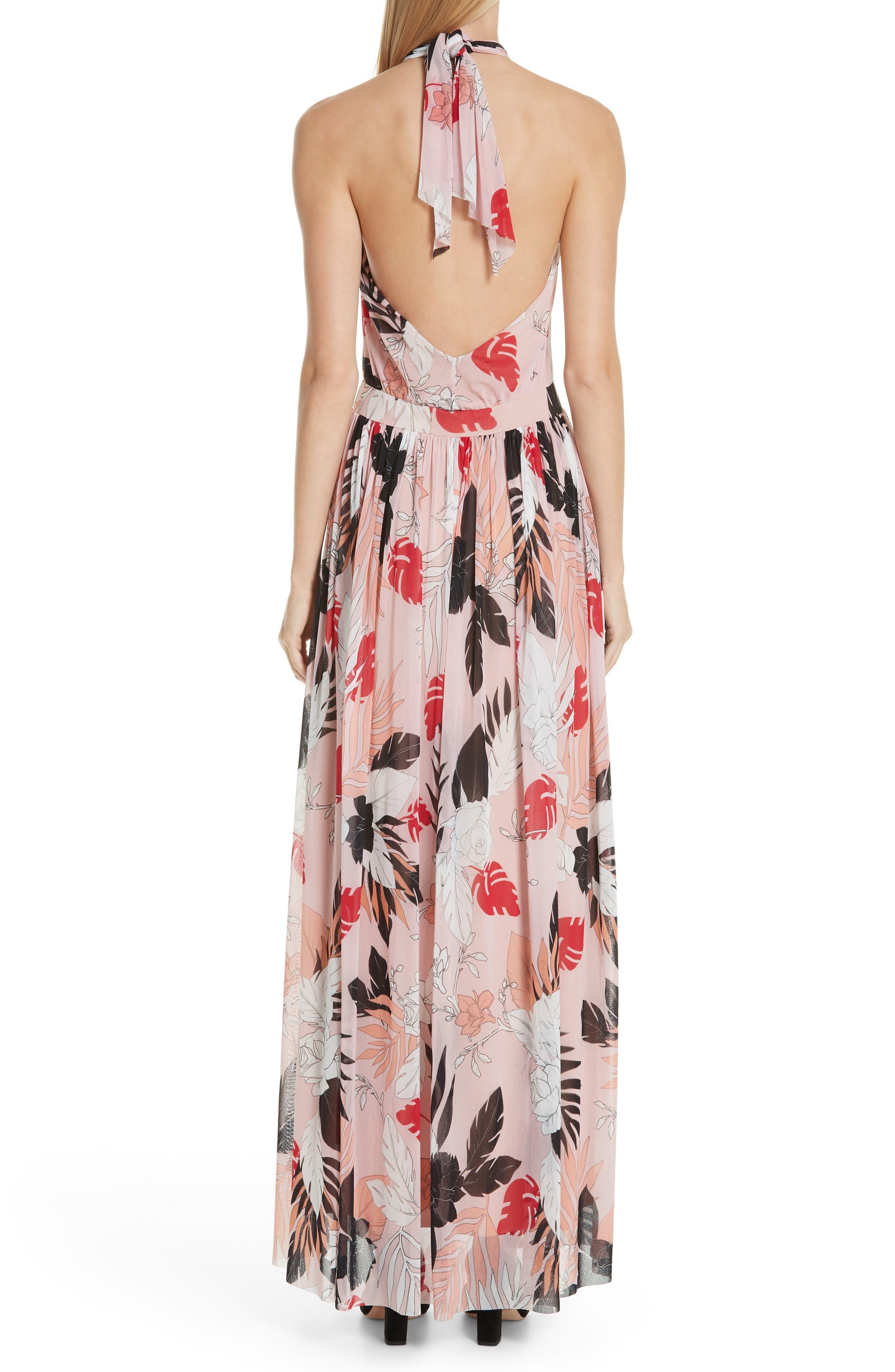 FUZZI, Floral Tulle Cross Halter Maxi Dress, Alternate thumbnail 2, color, ALBA