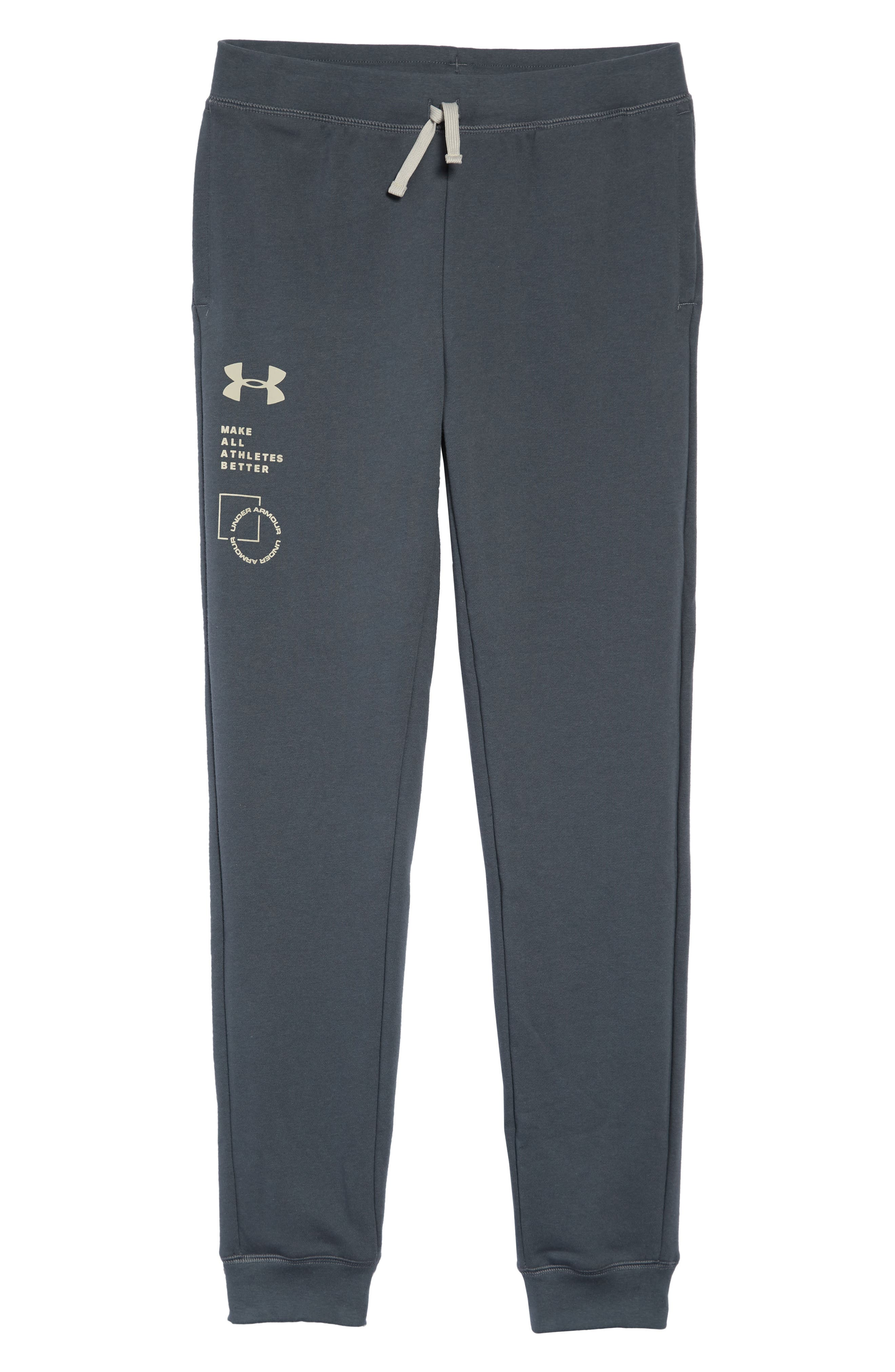 UNDER ARMOUR, Rival French Terry Sweatpants, Main thumbnail 1, color, PITCH GRAY/ KHAKI BASE