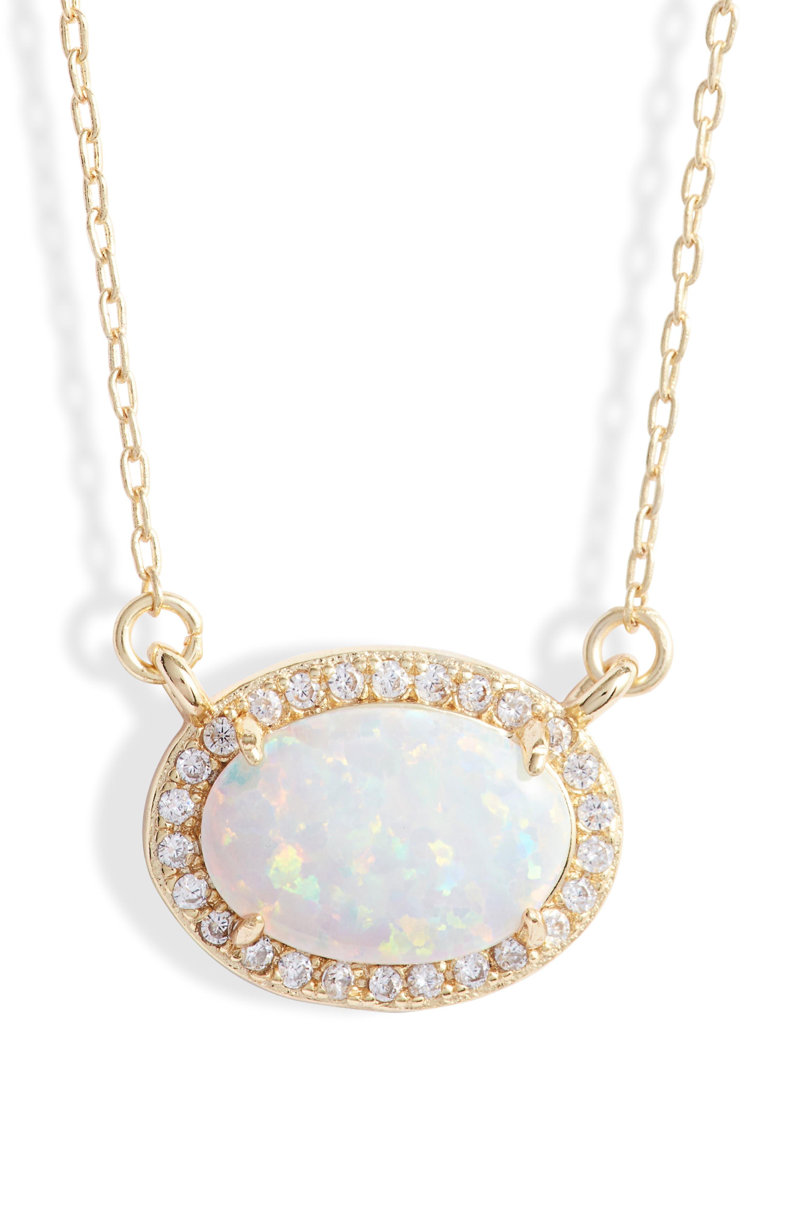 MELINDA MARIA, Ciera Opal Pendant Necklace, Main thumbnail 1, color, 710