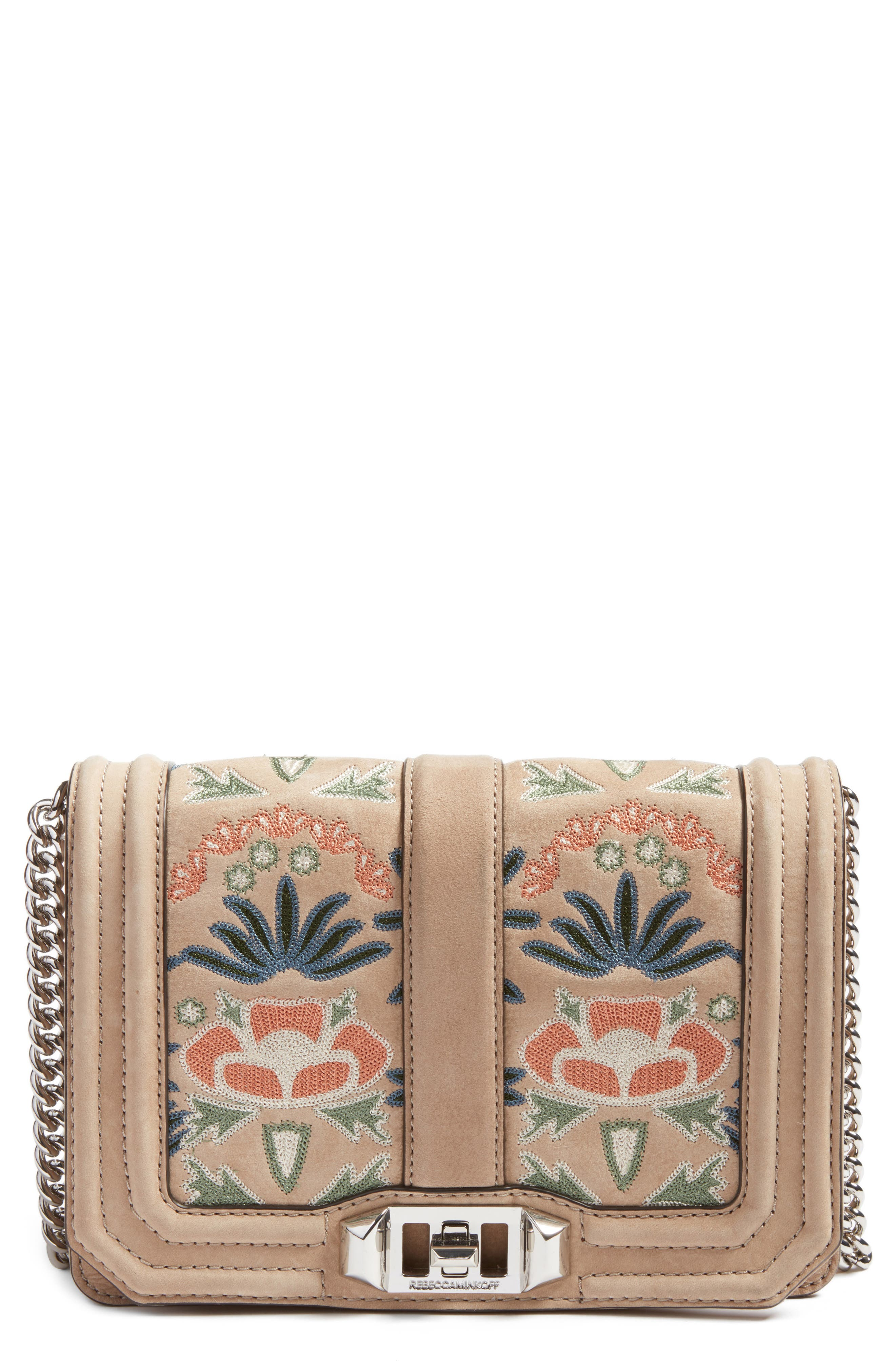 REBECCA MINKOFF, Small Love Embroidered Nubuck Crossbody Bag, Main thumbnail 1, color, 250