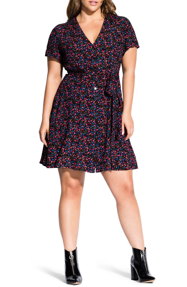 City Chic SWEET DITSY BUTTON DOWN DRESS