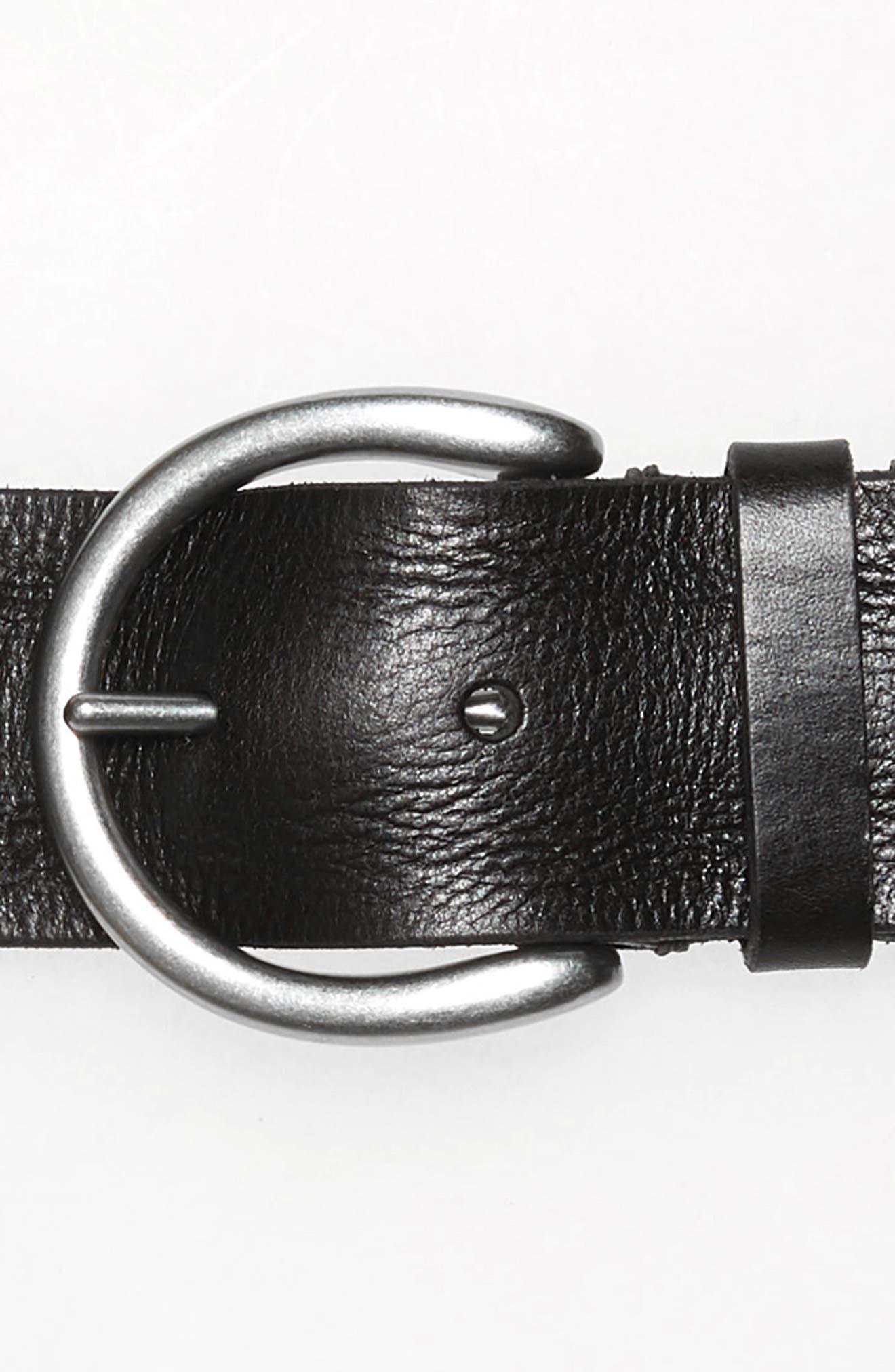 FRYE, Screw Rivet Leather Belt, Alternate thumbnail 3, color, BLACK