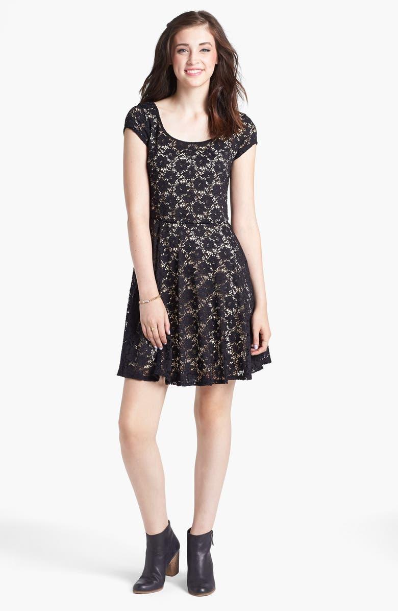 98452bb5ffaf Socialite Lace Cap Sleeve Skater Dress (Juniors) | Nordstrom
