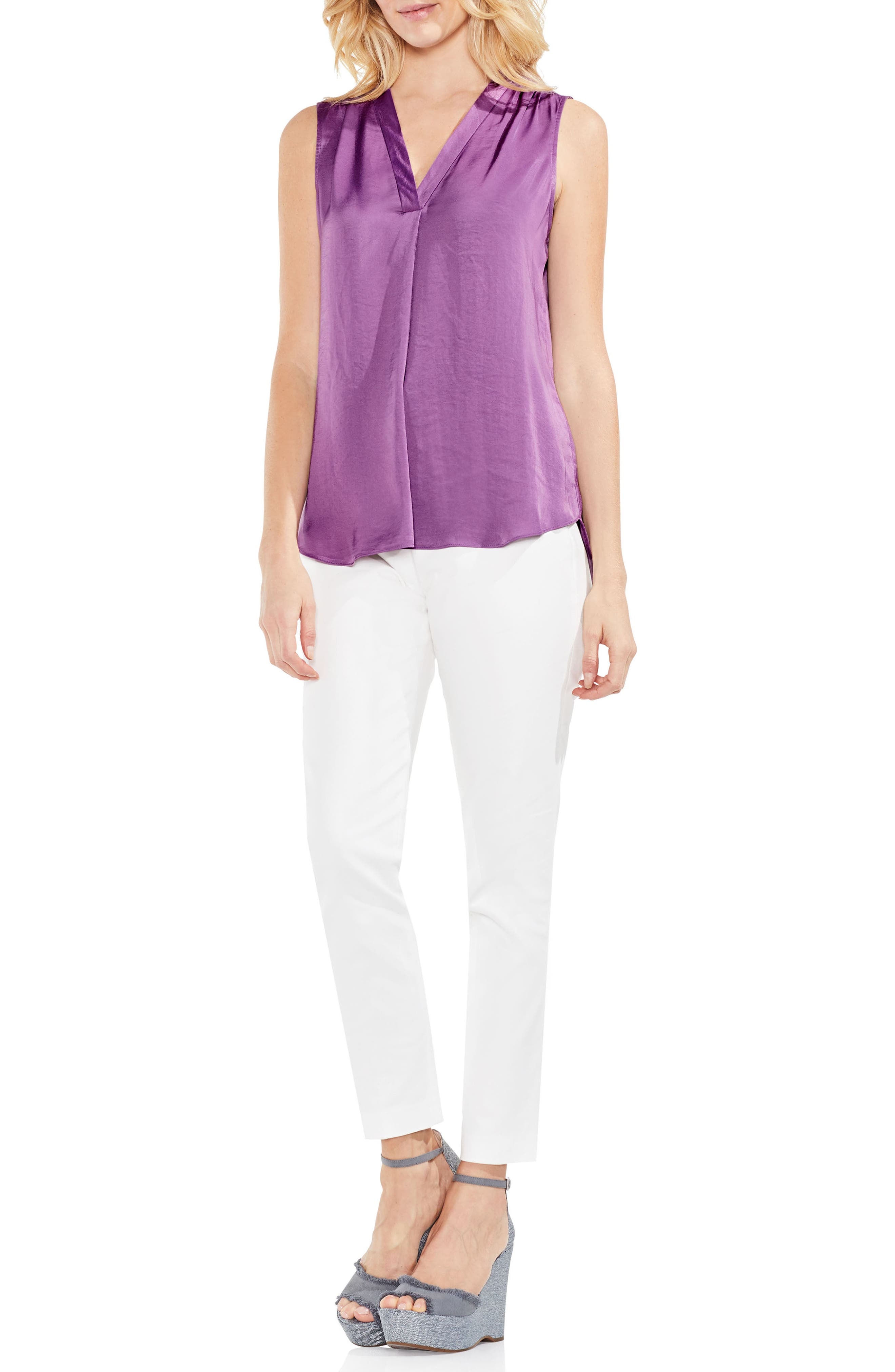 VINCE CAMUTO, Rumpled Satin Blouse, Alternate thumbnail 4, color, NEW TULIP
