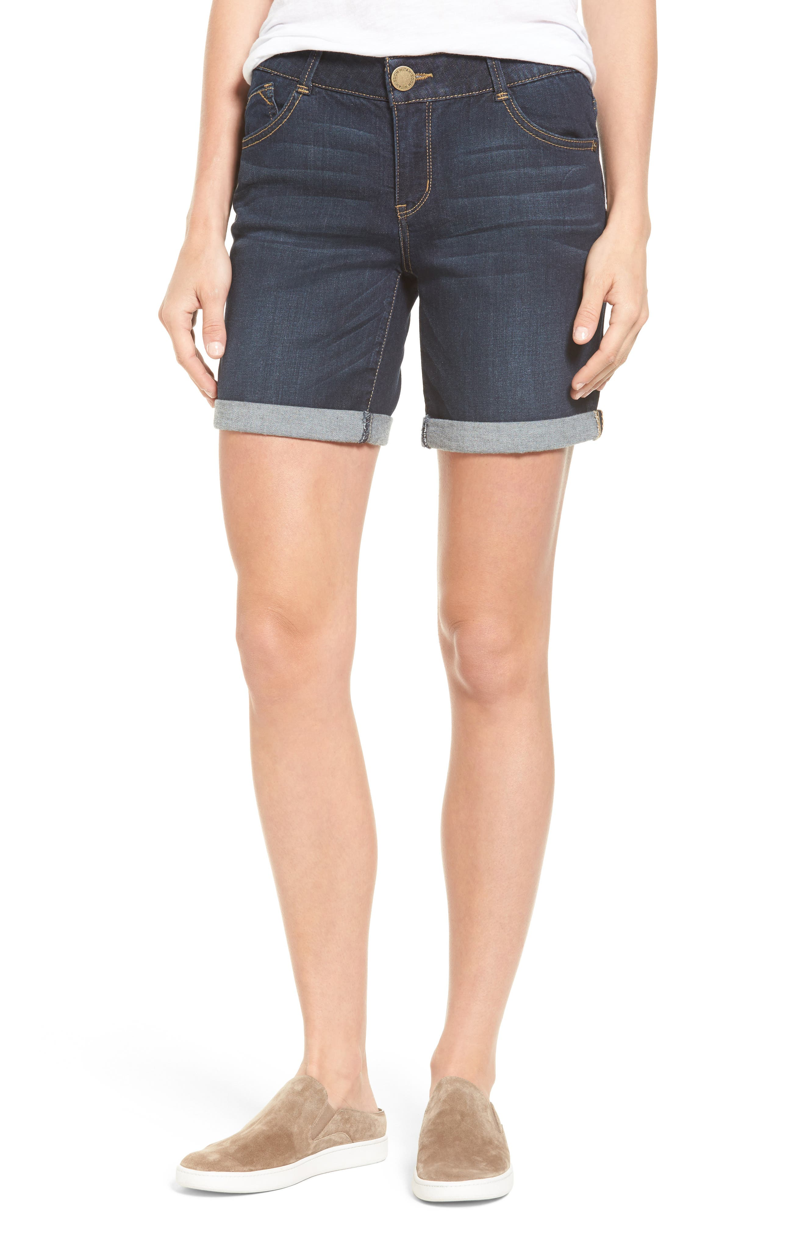 WIT & WISDOM Ab-solution Cuffed Denim Shorts, Main, color, INDIGO