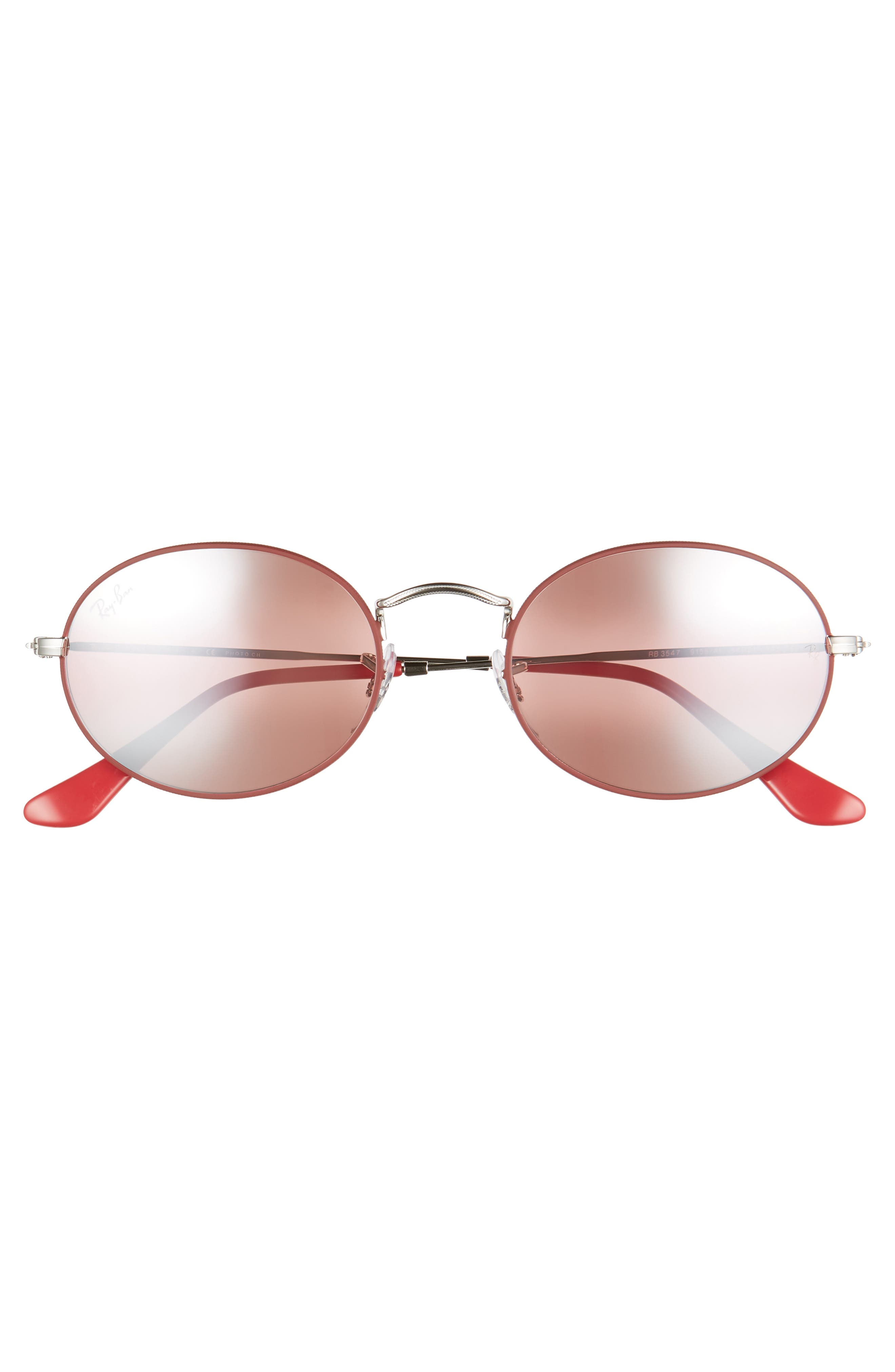 RAY-BAN, 54mm Polarized Oval Sunglasses, Alternate thumbnail 2, color, RED SILVER