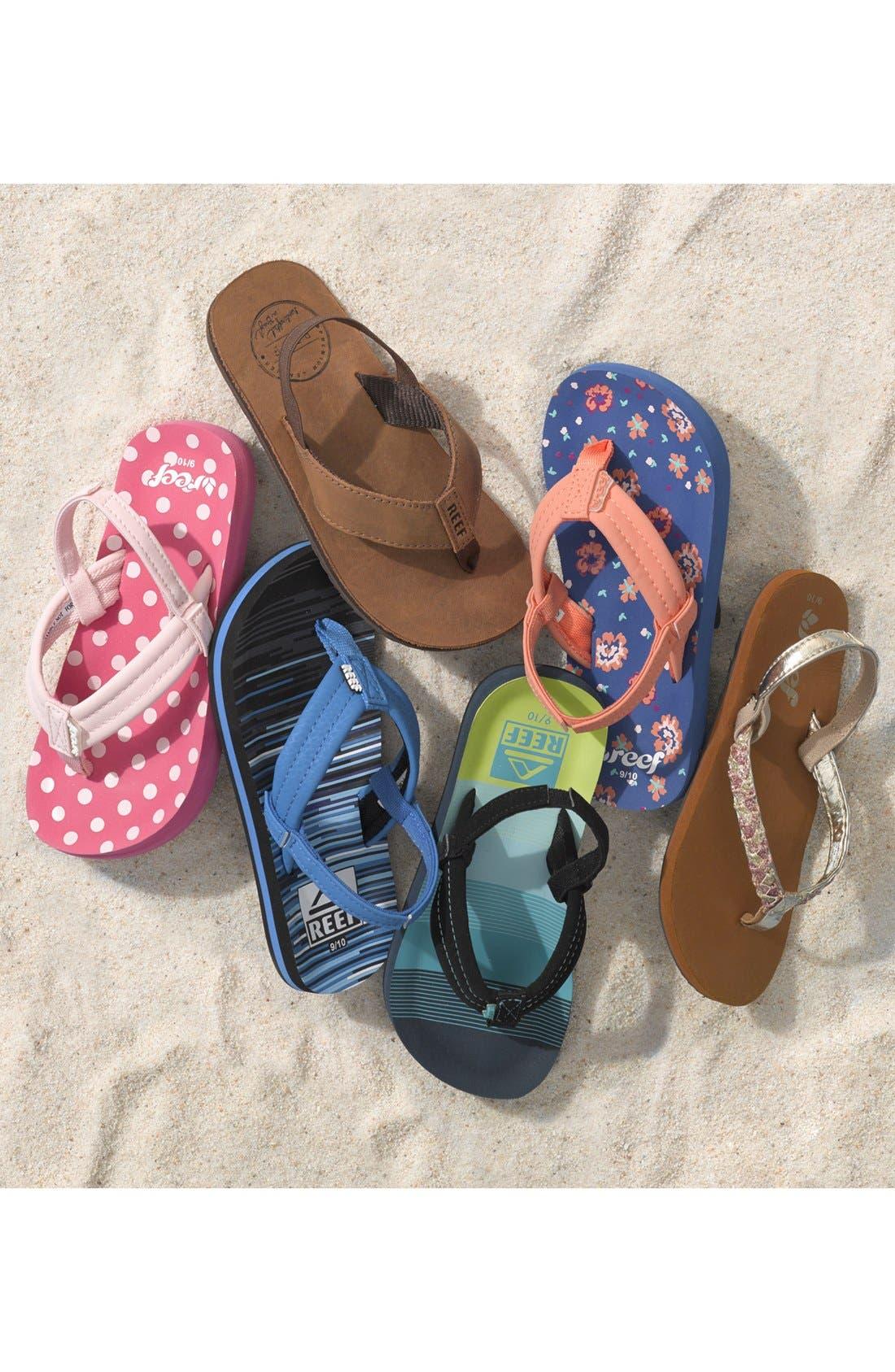 REEF, 'Ahi - Stripes' Sandal, Alternate thumbnail 6, color, AQUA/ GREEN