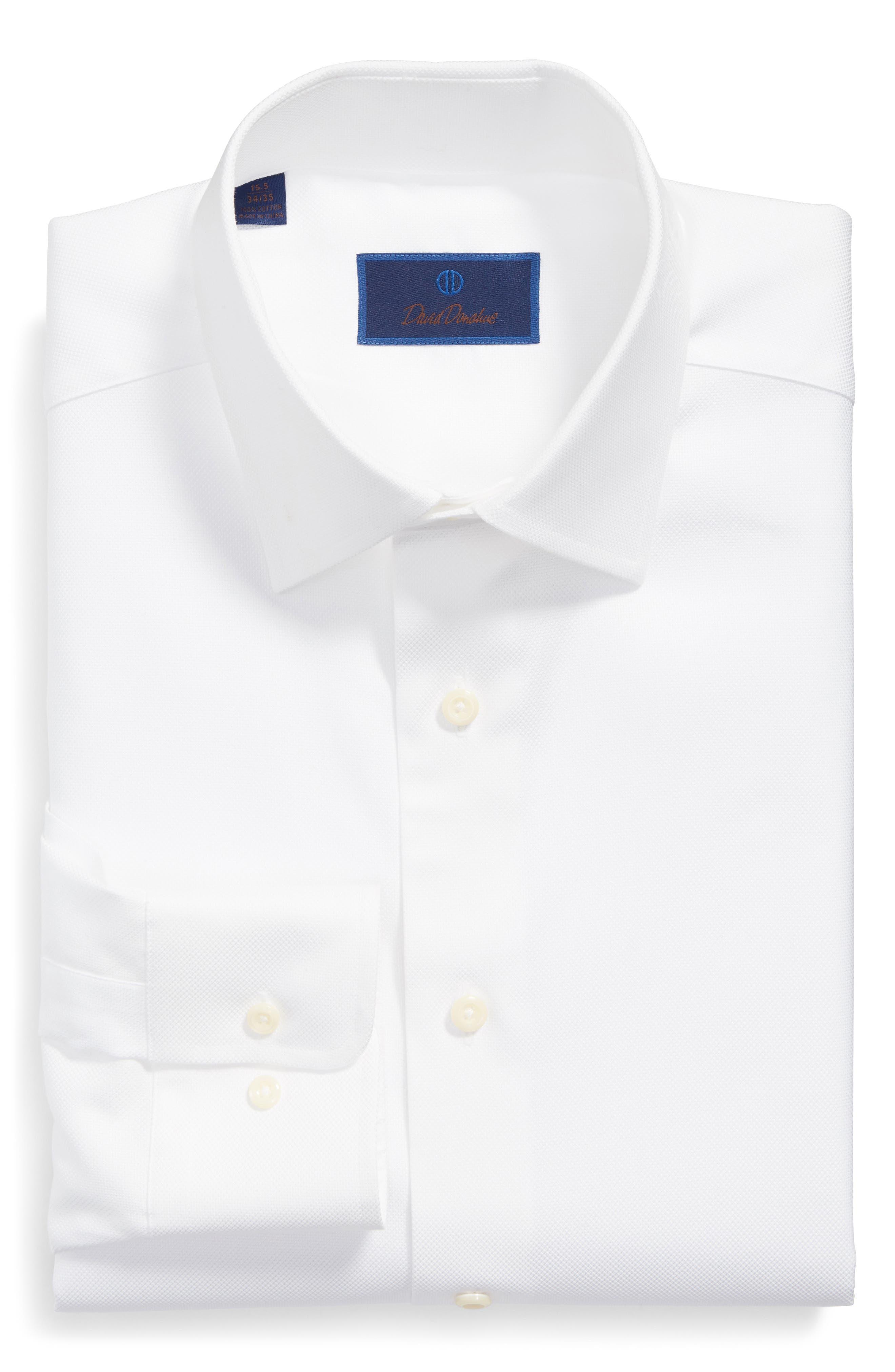 DAVID DONAHUE, Regular Fit Oxford Dress Shirt, Alternate thumbnail 4, color, WHITE