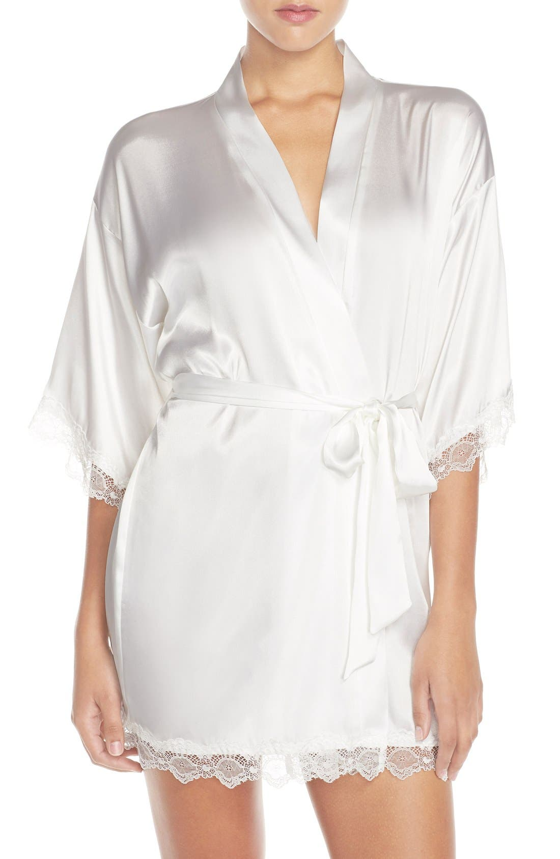 IN BLOOM BY JONQUIL, The Bride Short Satin Wrap, Alternate thumbnail 7, color, WHITE