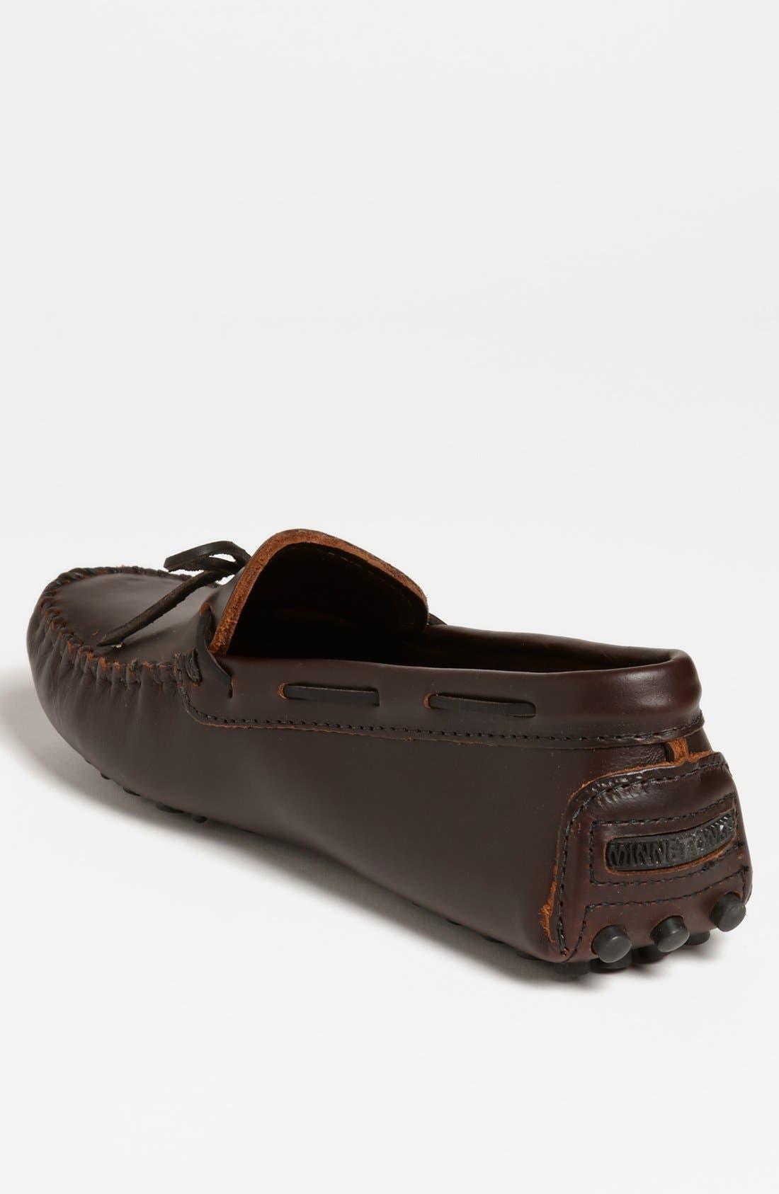 MINNETONKA, Leather Driving Shoe, Alternate thumbnail 3, color, DARK BROWN LARIAT