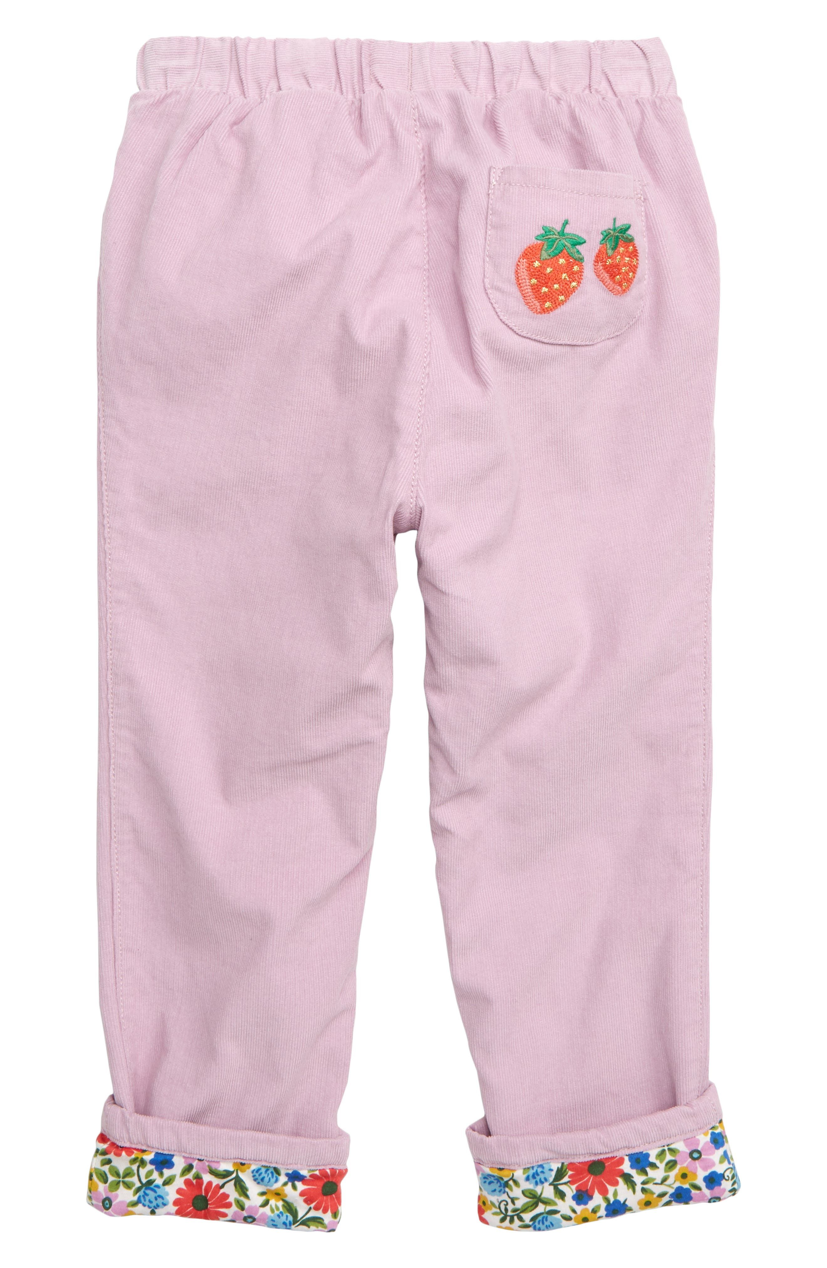 MINI BODEN, Pretty Pocket Corduroy Pants, Alternate thumbnail 2, color, DELPHINIUM PURPLE STRAWBERRY