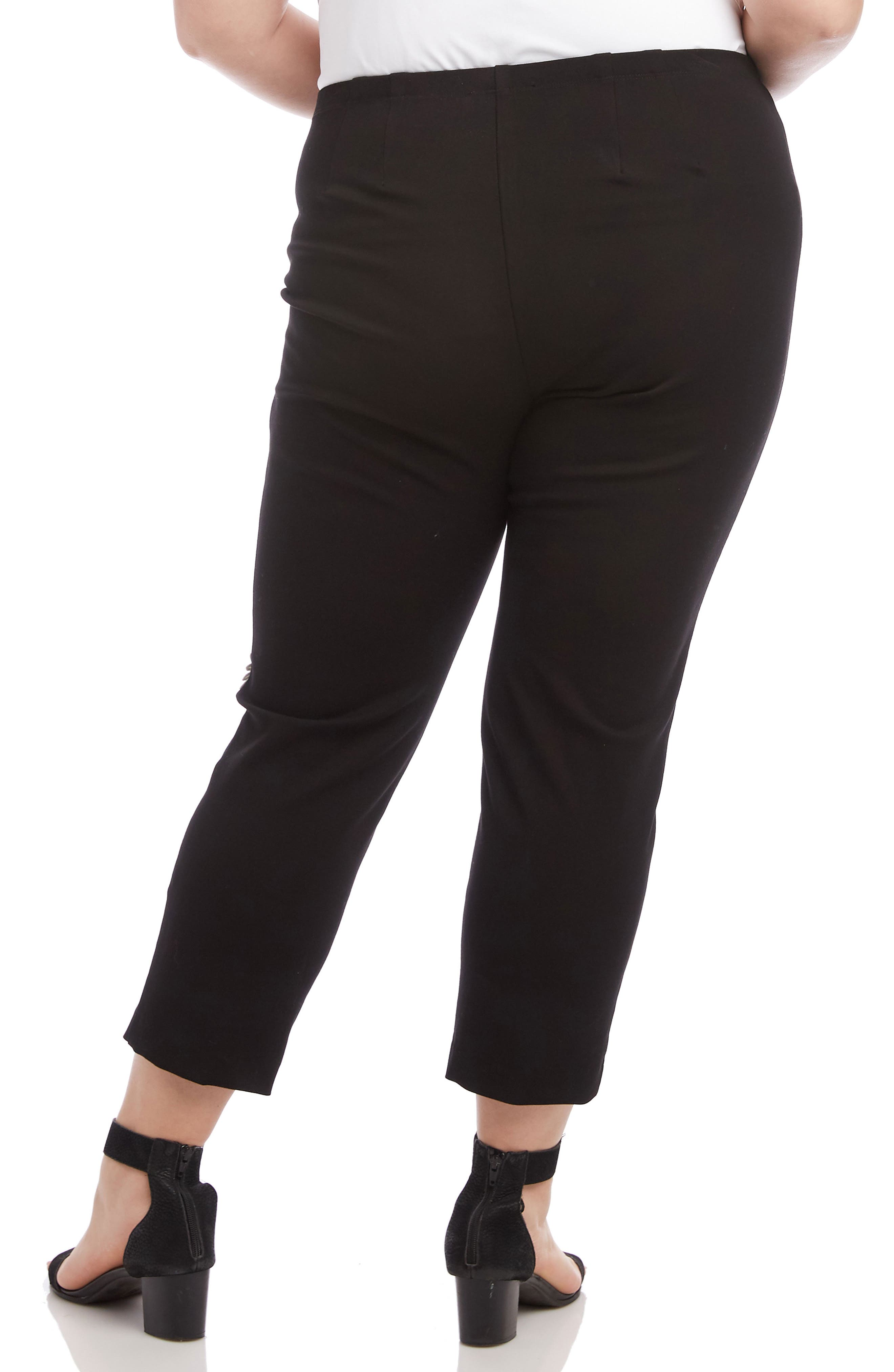 KAREN KANE, Piper Daisy Ankle Pants, Alternate thumbnail 2, color, BLACK