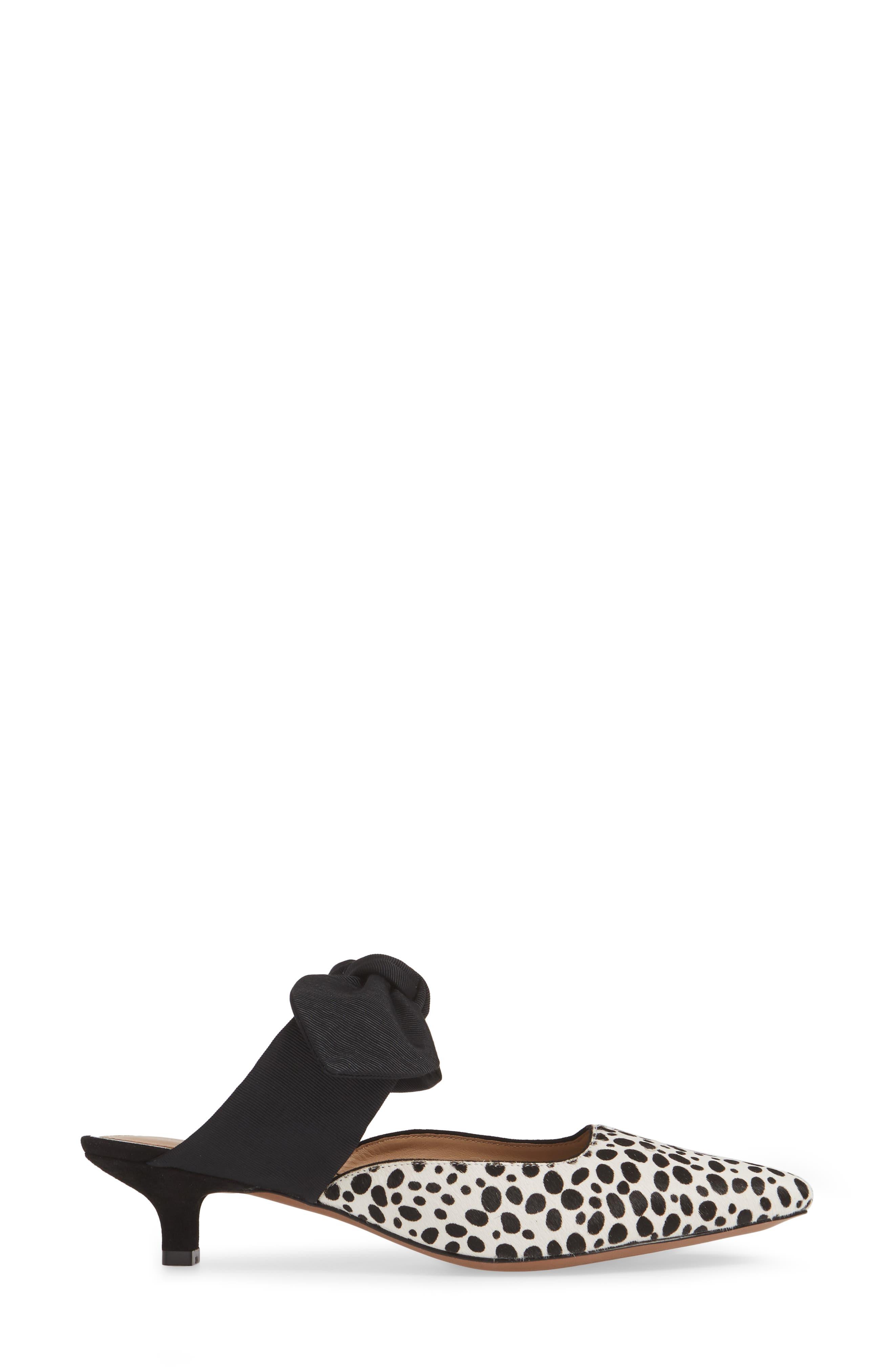 LINEA PAOLO, Crissy II Genuine Calf Hair Pump, Alternate thumbnail 3, color, WHITE/ BLACK CALF HAIR