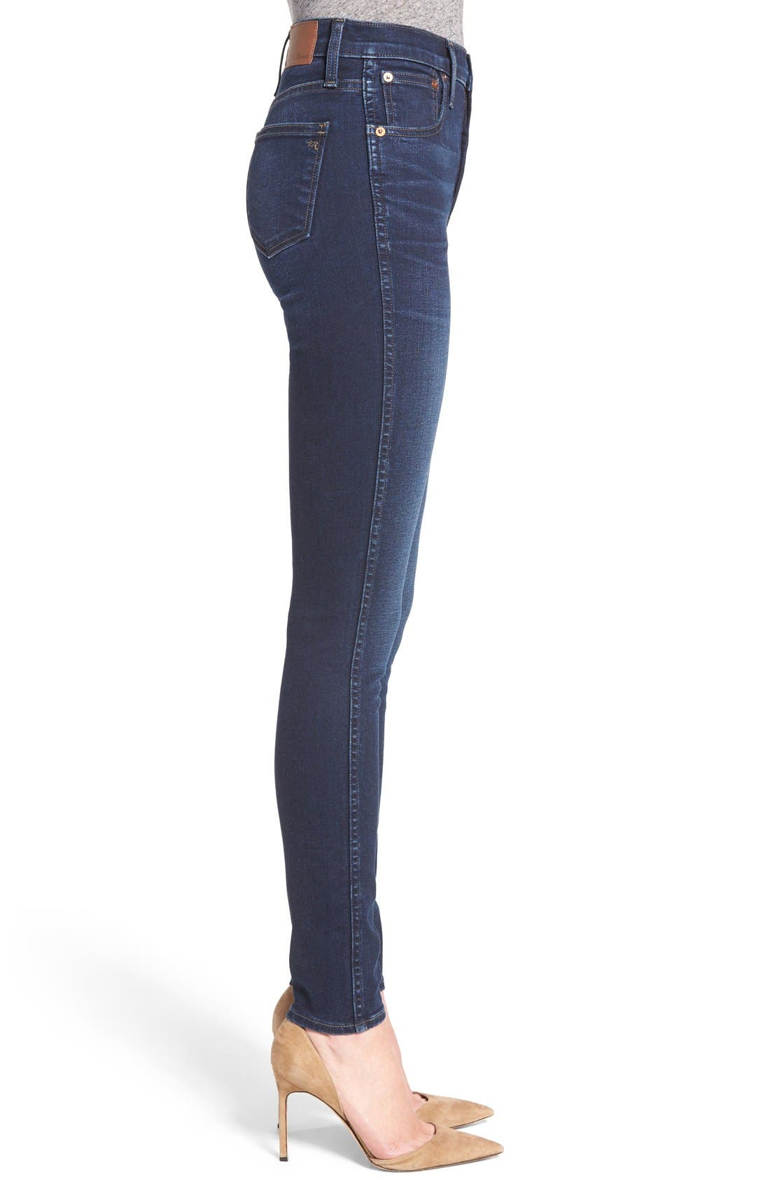 MADEWELL, 10-Inch High Rise Skinny Jeans, Alternate thumbnail 12, color, HAYES WASH