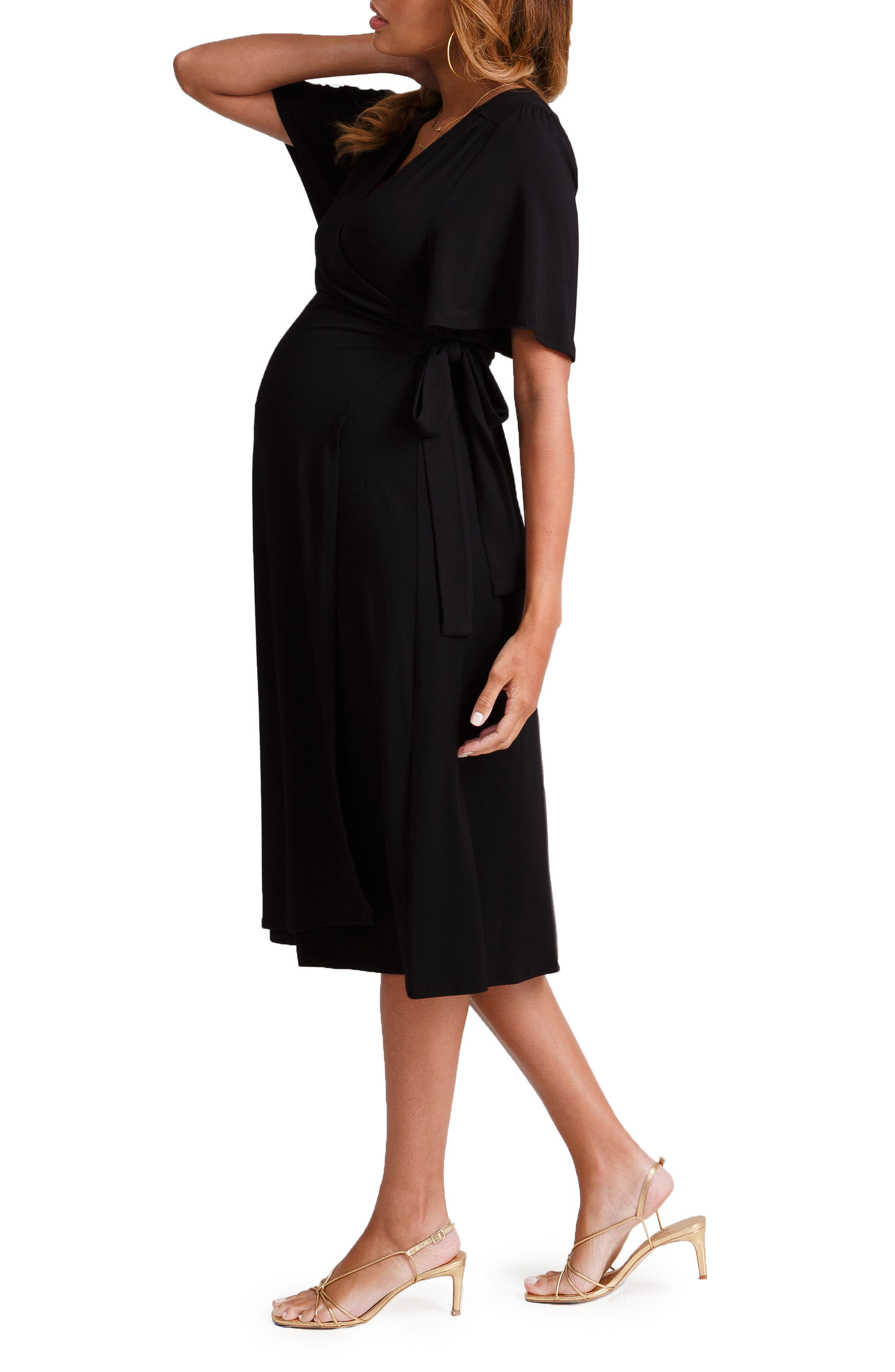 INGRID & ISABEL<SUP>®</SUP>, Flutter Sleeve Knit Wrap Maternity/Nursing Dress, Alternate thumbnail 3, color, JET BLACK