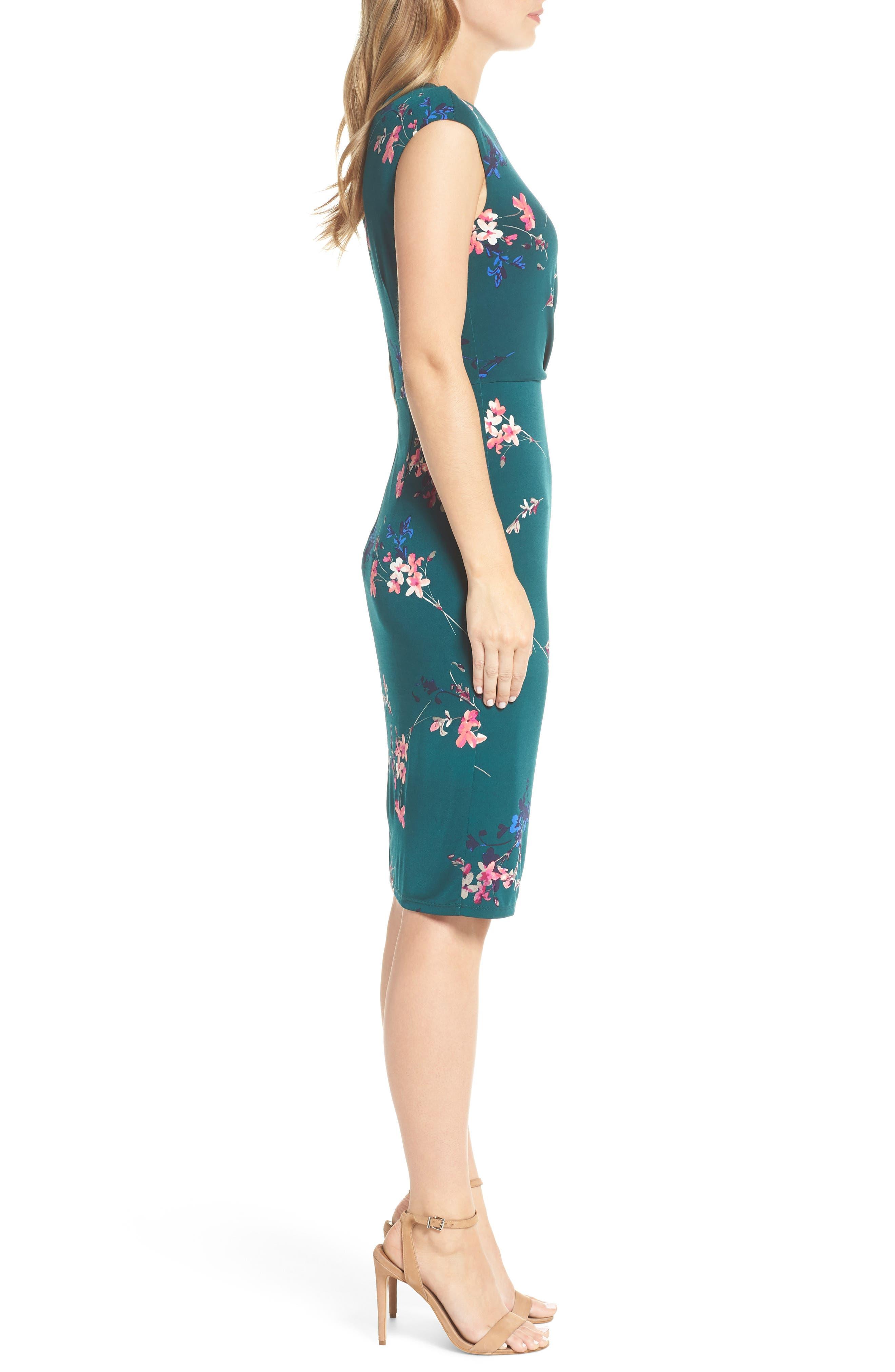 ELIZA J, Cap Sleeve Floral Print Sheath Dress, Alternate thumbnail 4, color, GREEN