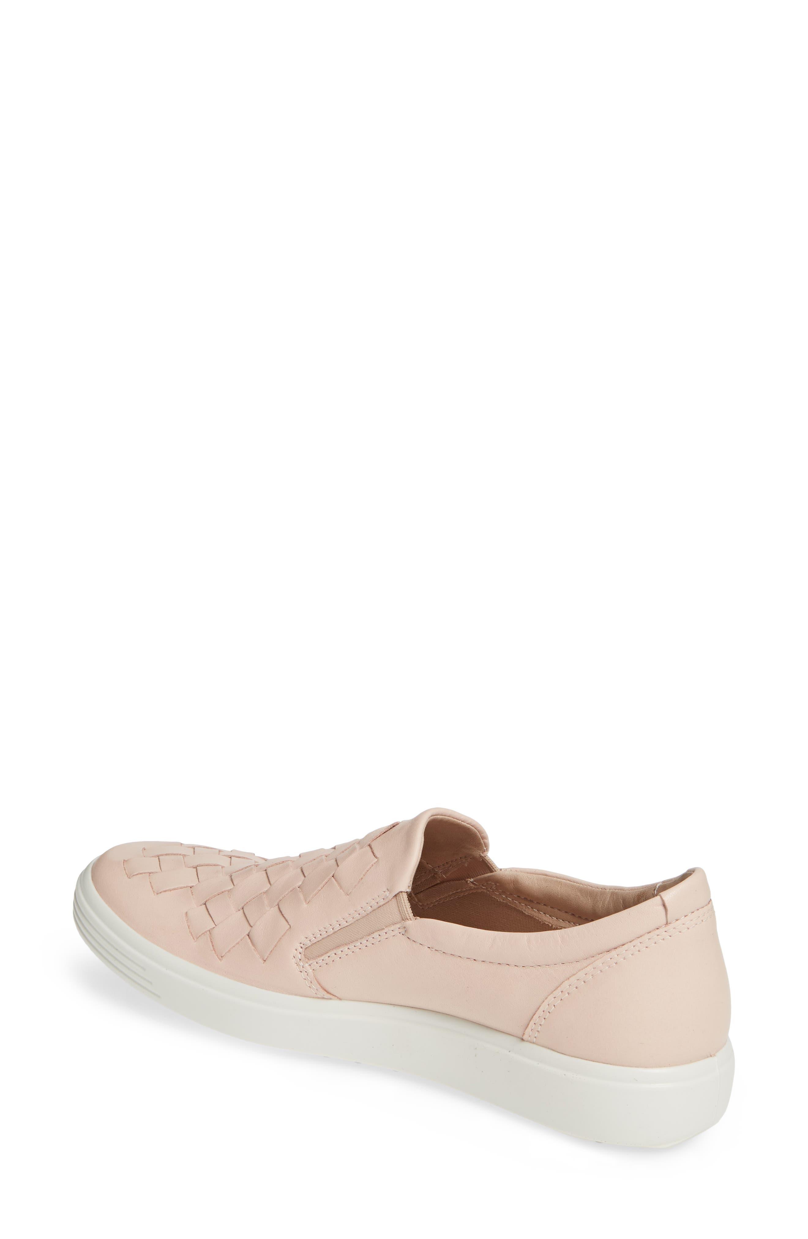 ECCO, Soft 7 Woven Slip-On Sneaker, Alternate thumbnail 2, color, ROSE DUST LEATHER
