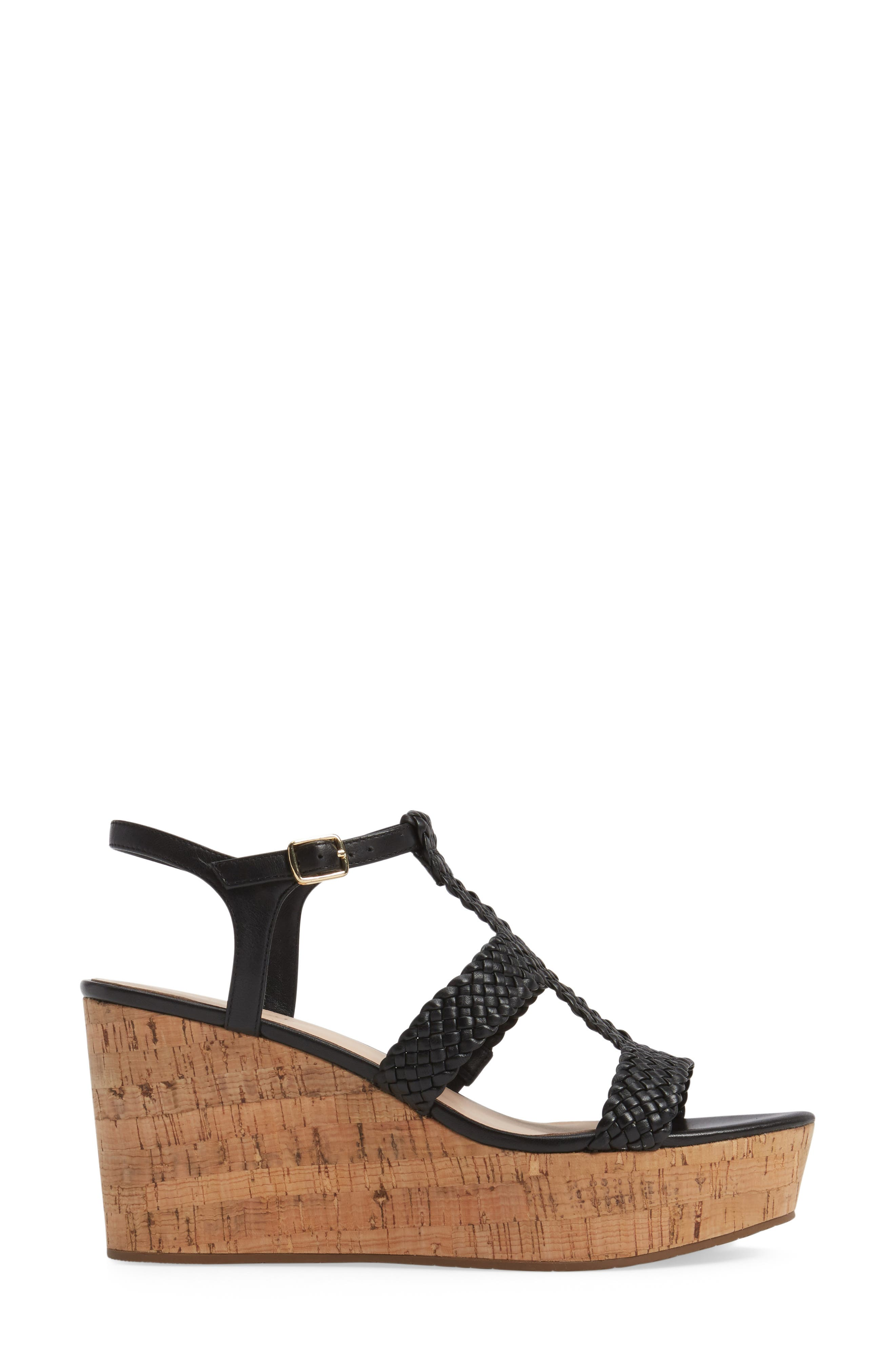 KATE SPADE NEW YORK, tianna platform sandal, Alternate thumbnail 3, color, 001
