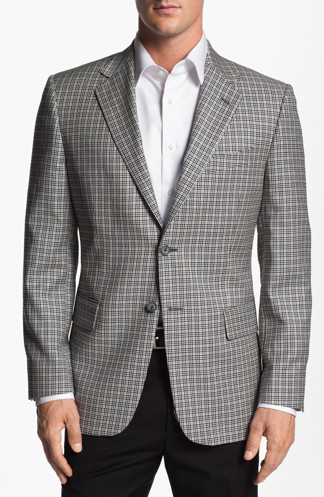 JOSEPH ABBOUD, 'Signature Silver' Check Wool & Silk Sportcoat, Alternate thumbnail 5, color, 400