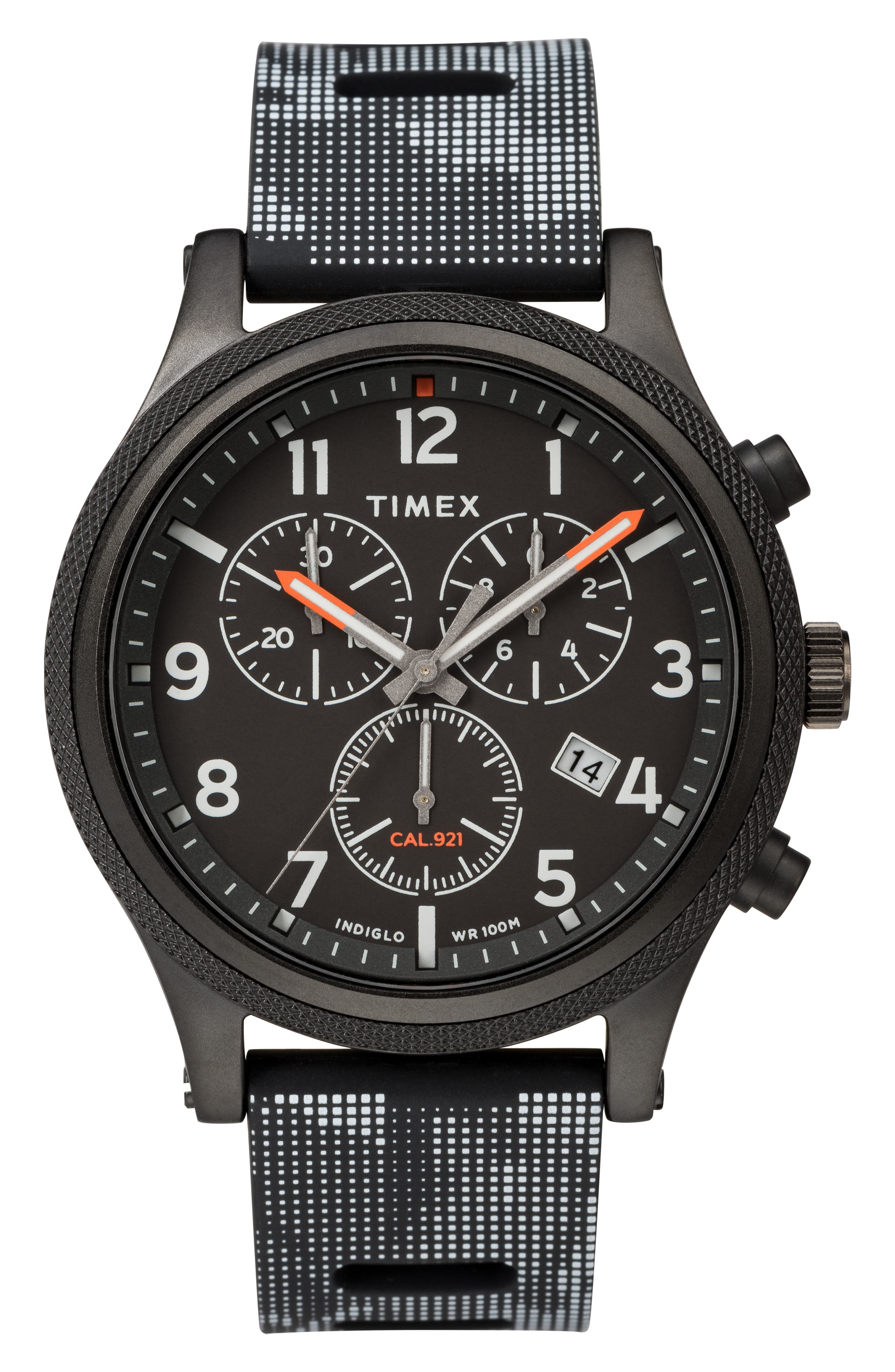 TIMEX<SUP>®</SUP>, ARCHIVE Allied Chronograph Silicone Strap Watch, 42mm, Main thumbnail 1, color, BLACK
