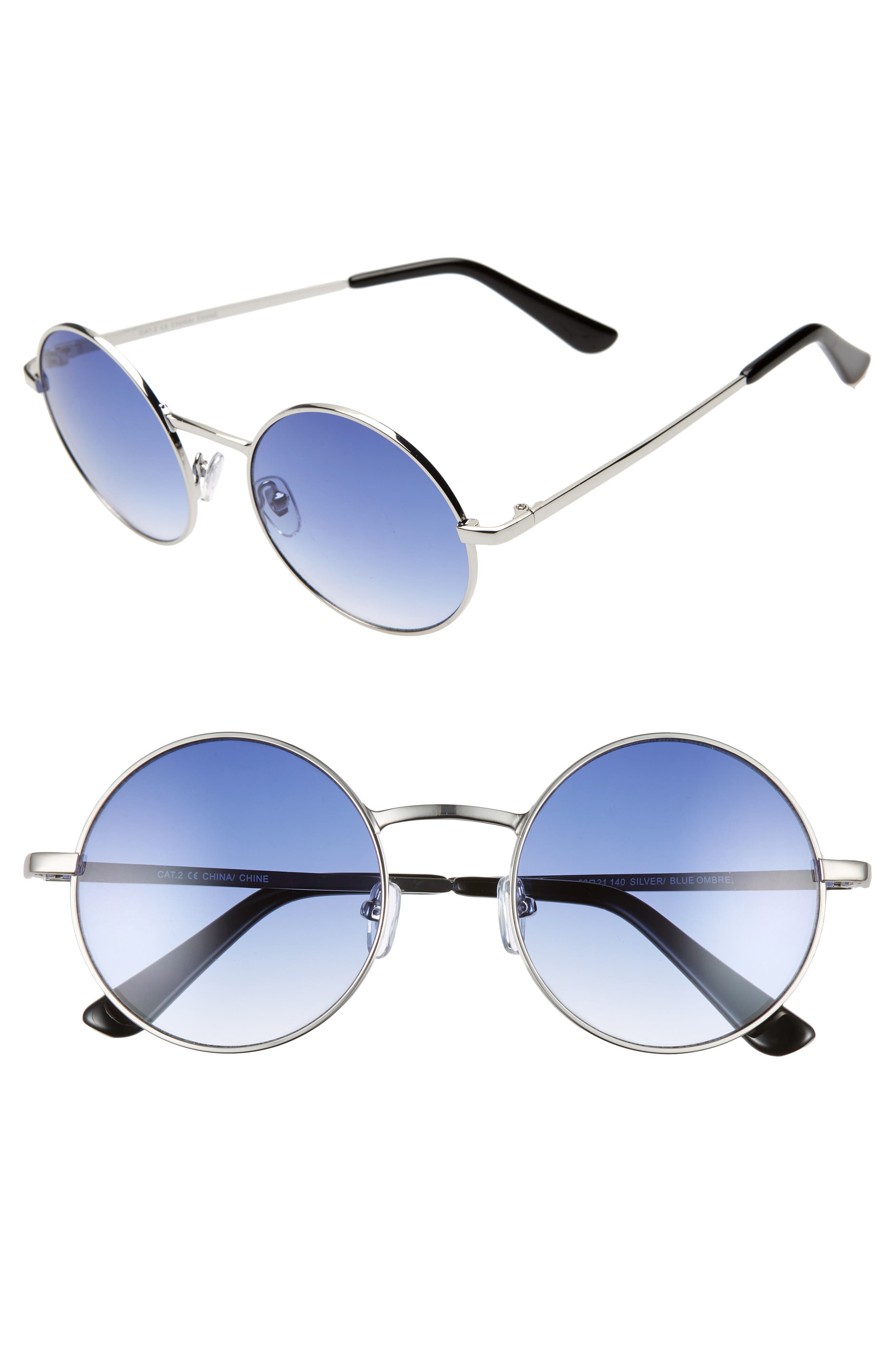 THE RAIL, Lenny 53mm Round Sunglasses, Main thumbnail 1, color, SILVER/ BLUE OMBRE