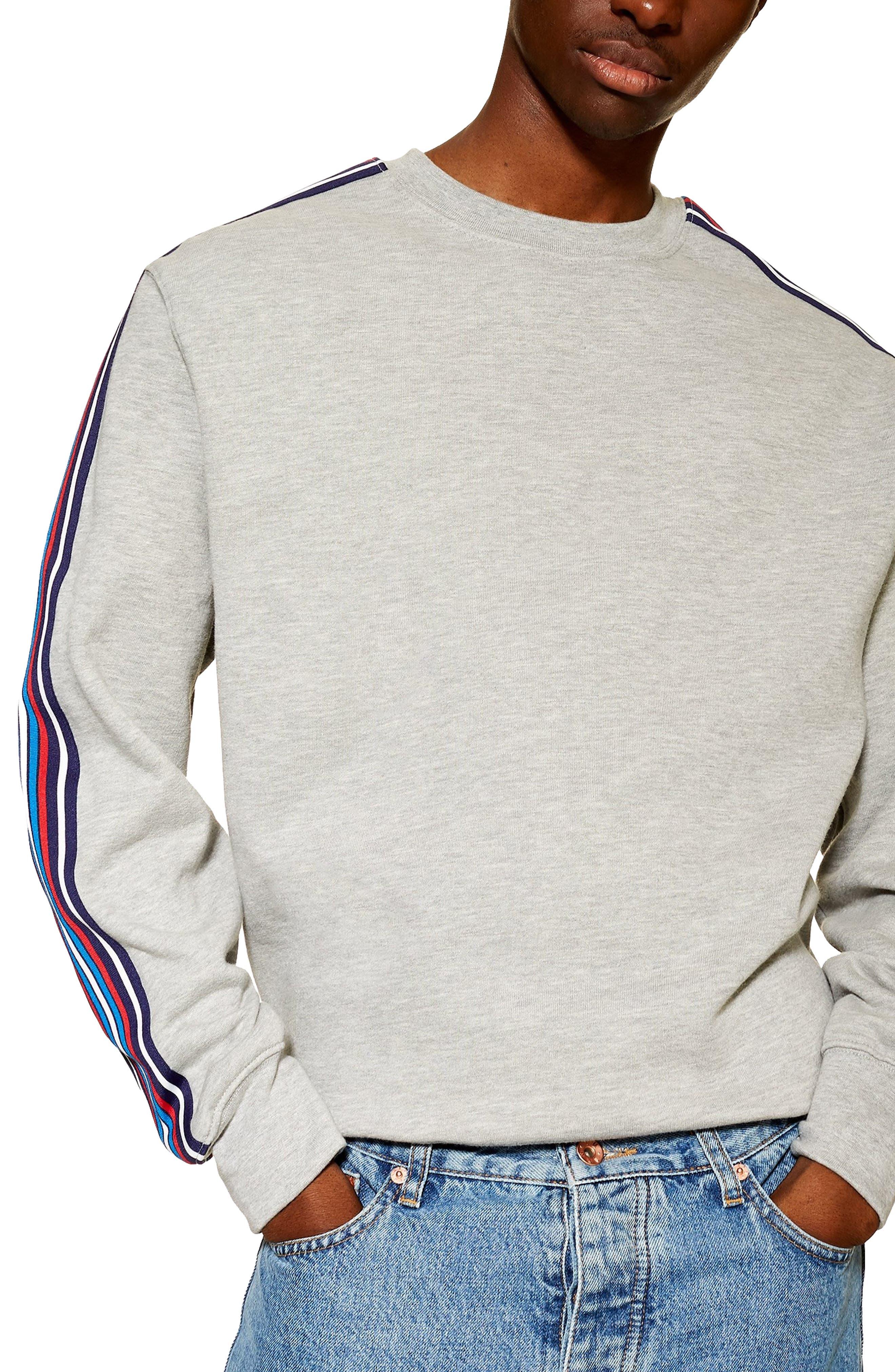 TOPMAN, Tape Crewneck Sweatshirt, Main thumbnail 1, color, LIGHT GREY