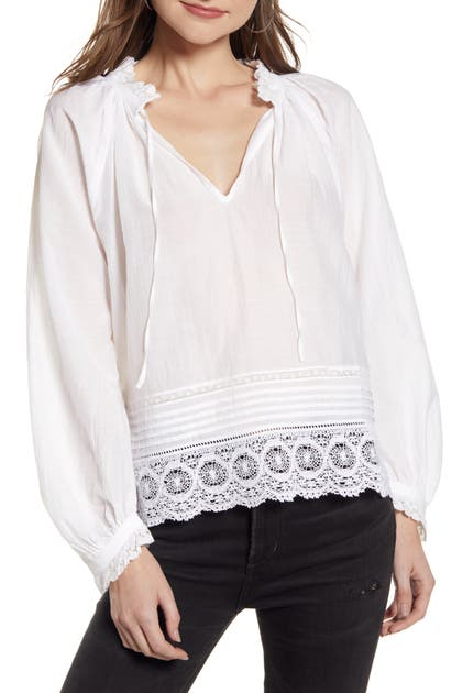 Zadig & Voltaire Tops THERESA LACE TRIM BLOUSE